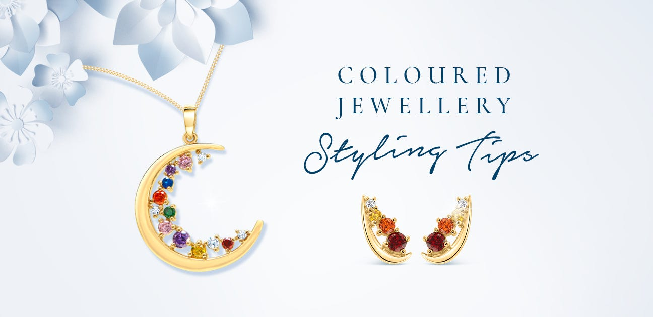 """An image of our coloured Jewellery range items with the title """"Coloured Jewellery Styling Tips"""""""