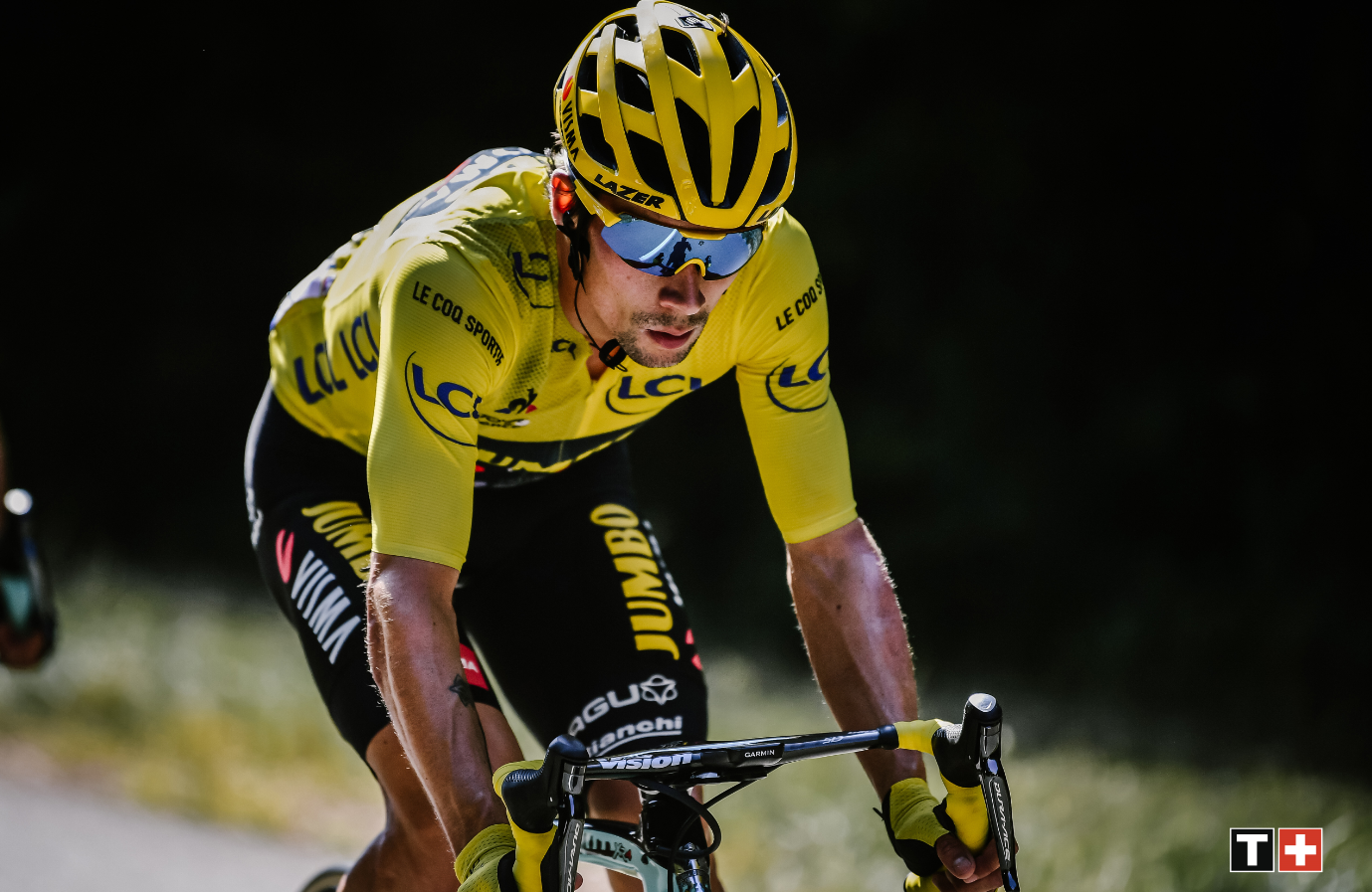 An image of Primoz Roglič wearing the Tour De France Yellow Jersey