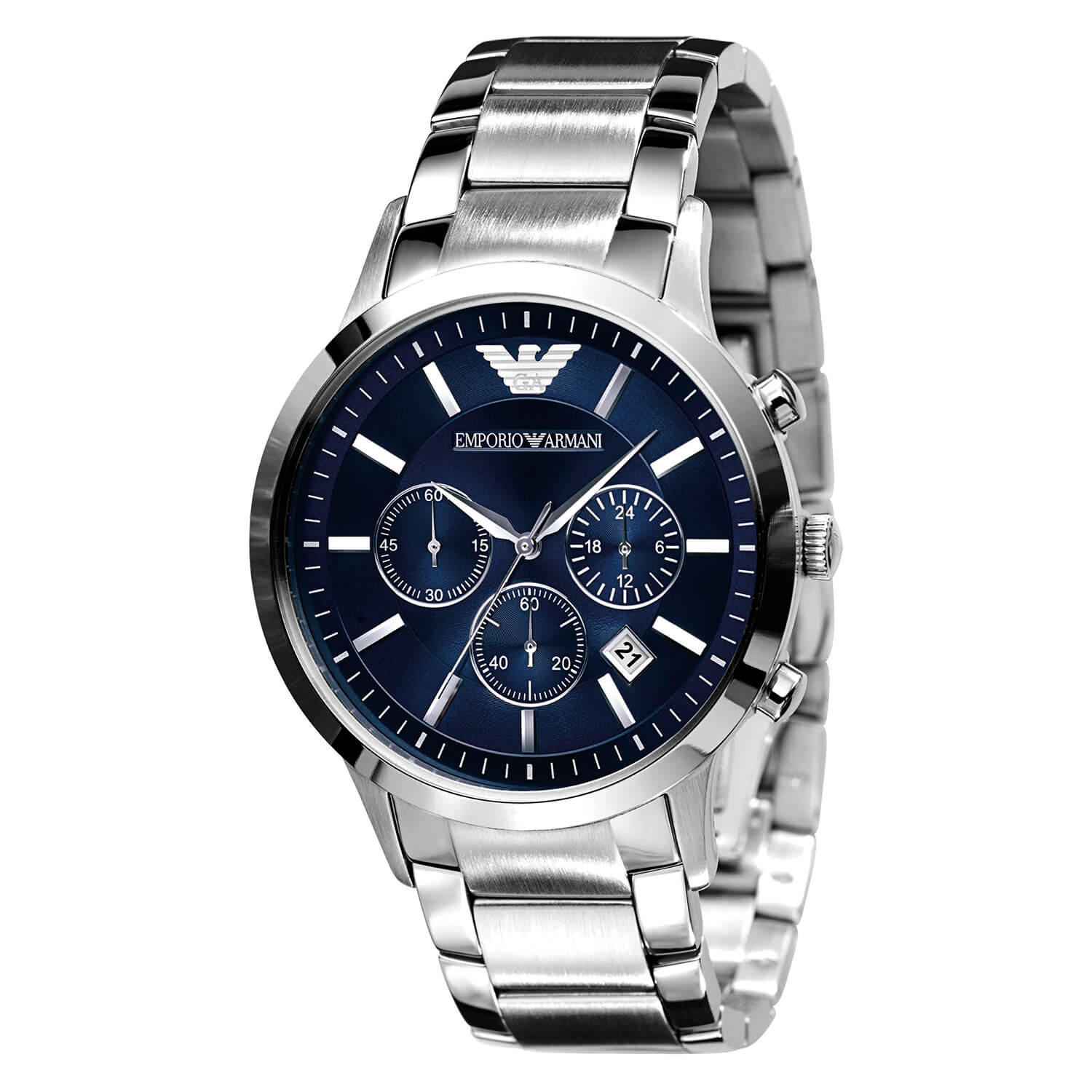 Emporio Armani Classic men's chronograph blue dial stainless steel bracelet watch
