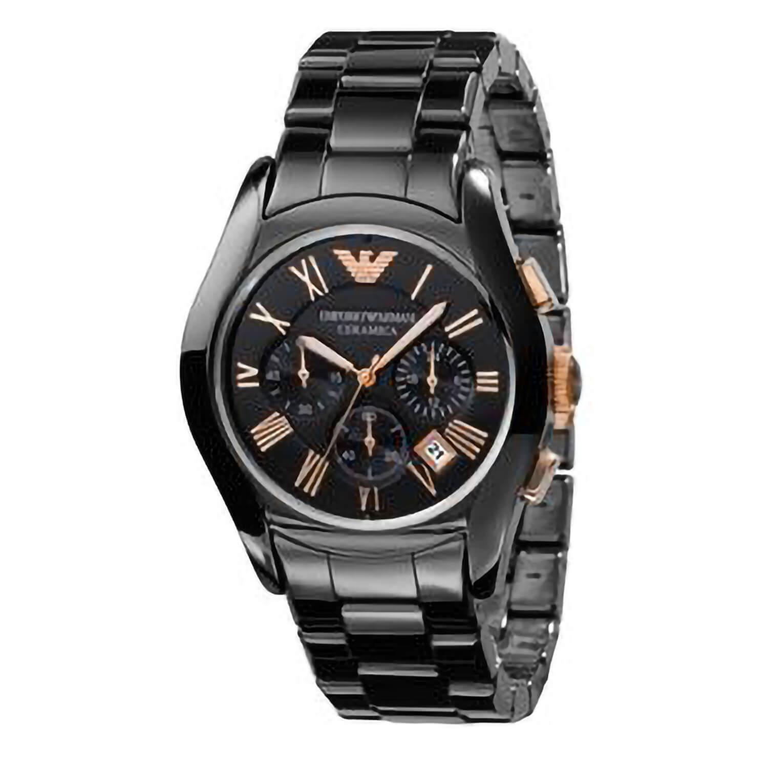 Emporio Armani Ceramica men's chronograph black bracelet watch