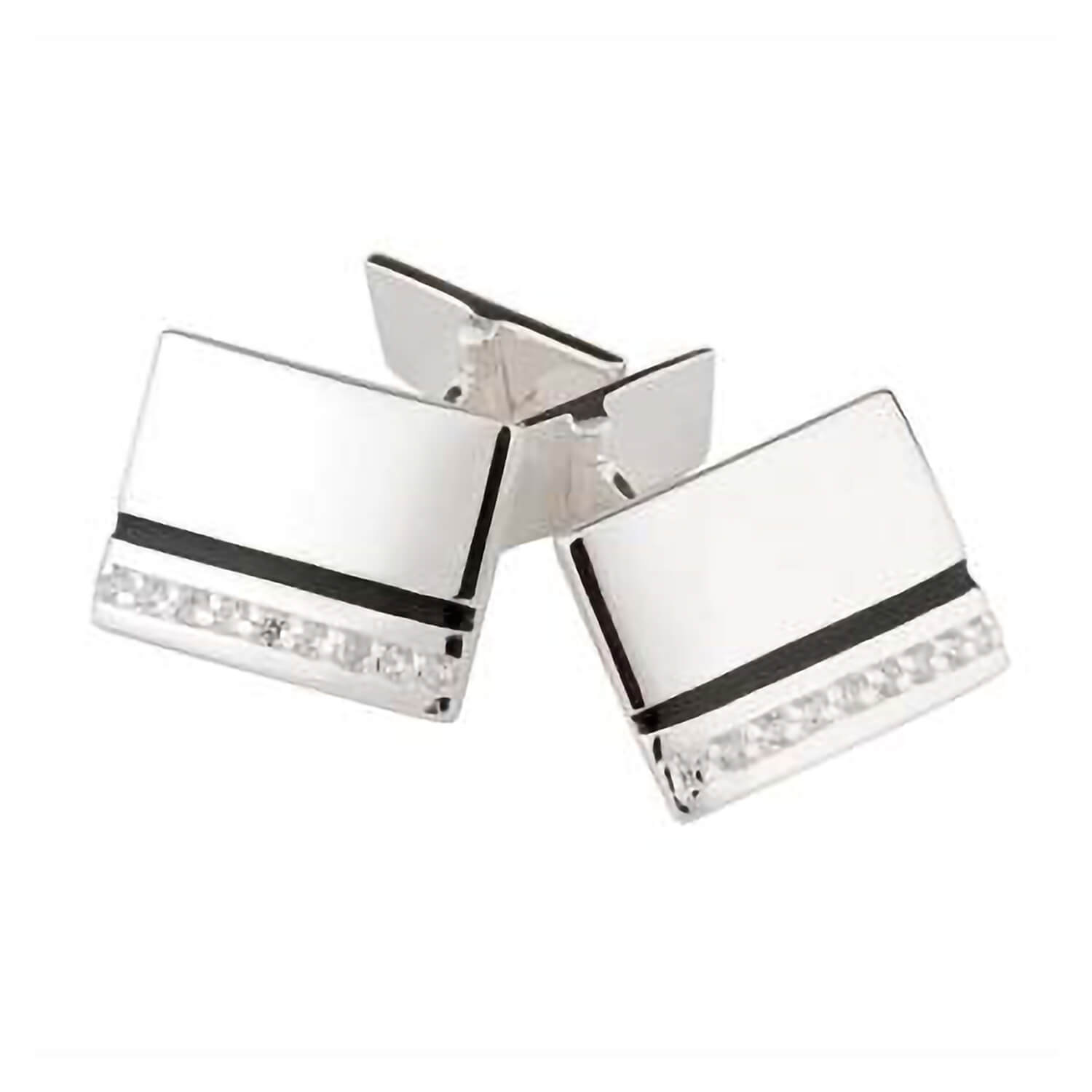 Silver and cubic zirconia cufflinks