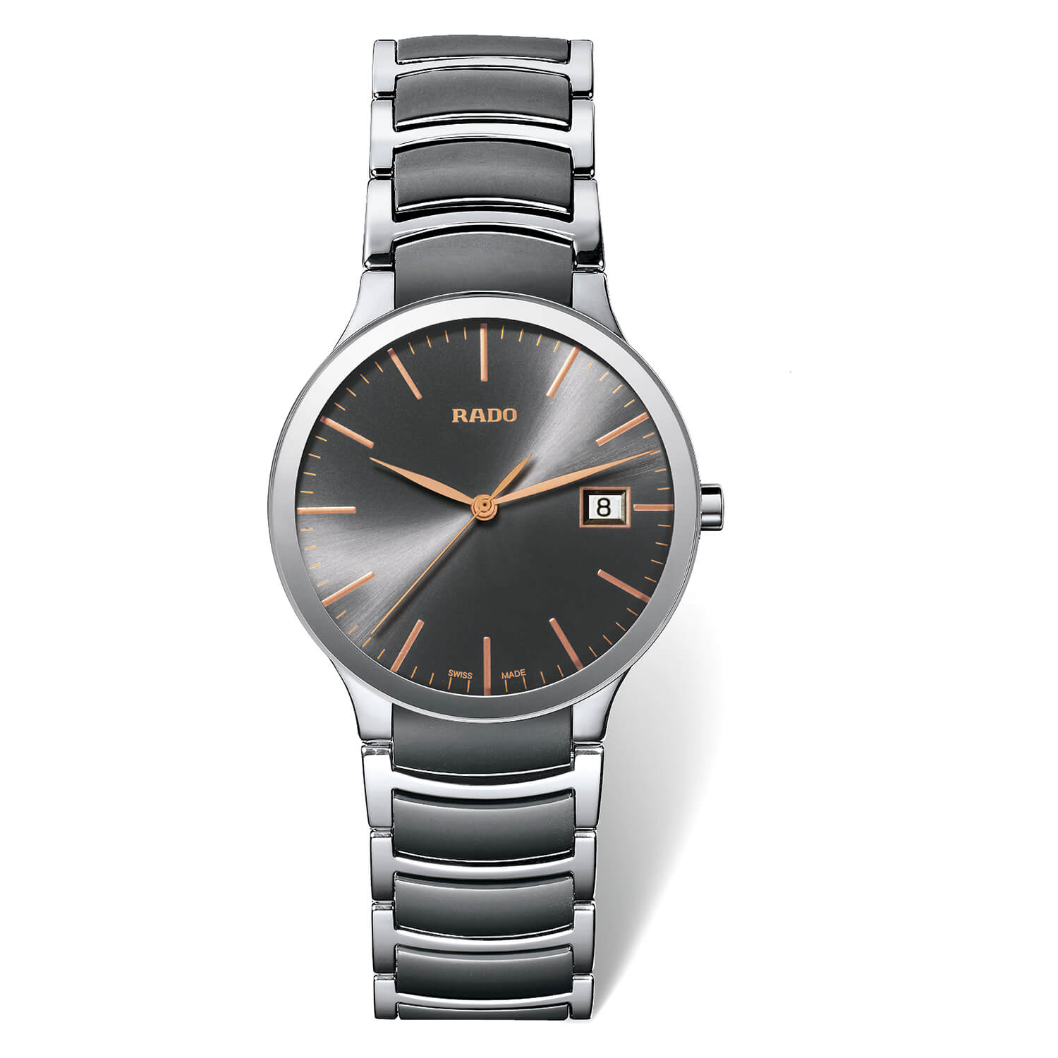 Rado Centrix Black Dial Ceramic Bracelet 38mm Mens Watch
