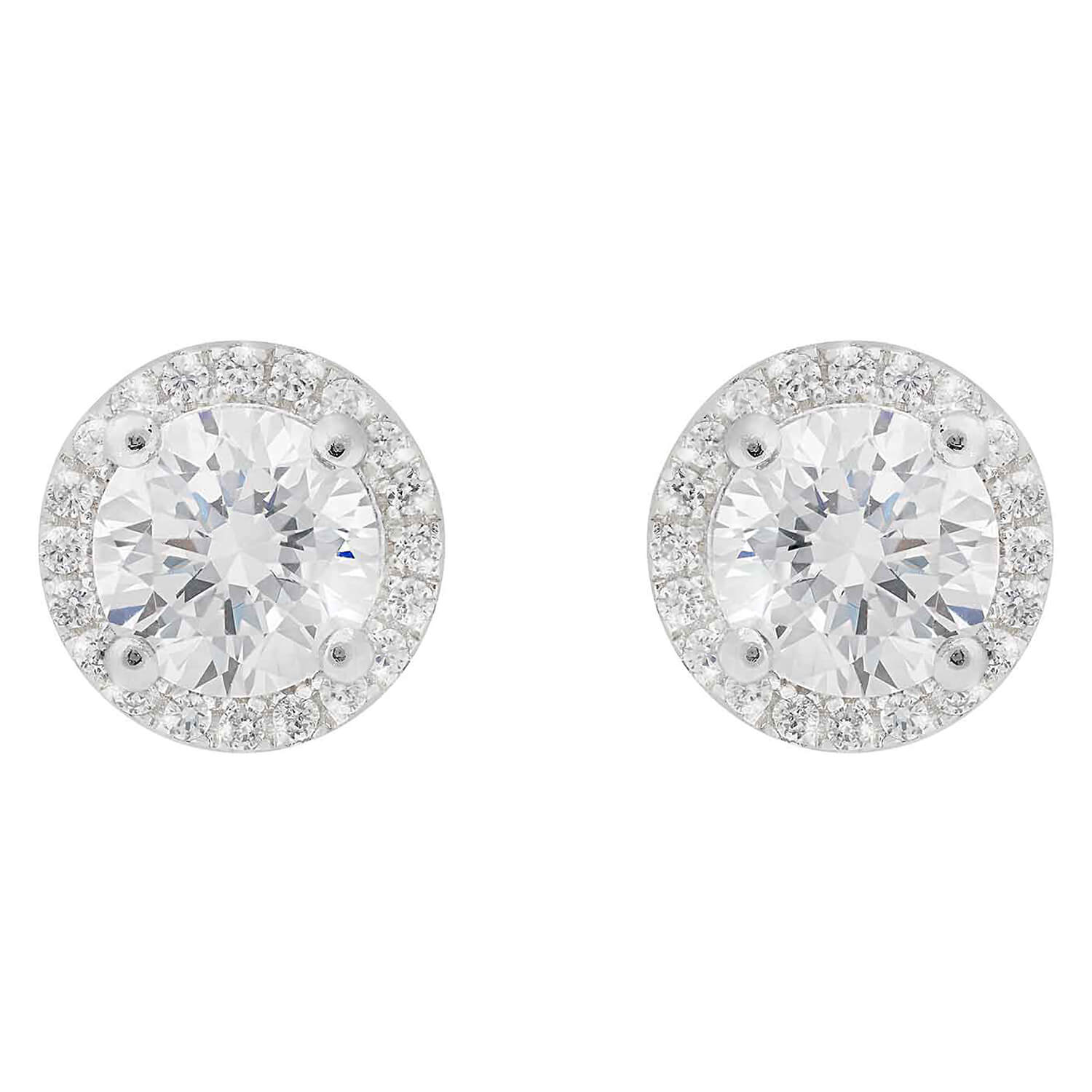 Silver cubic zirconia halo cluster stud earrings