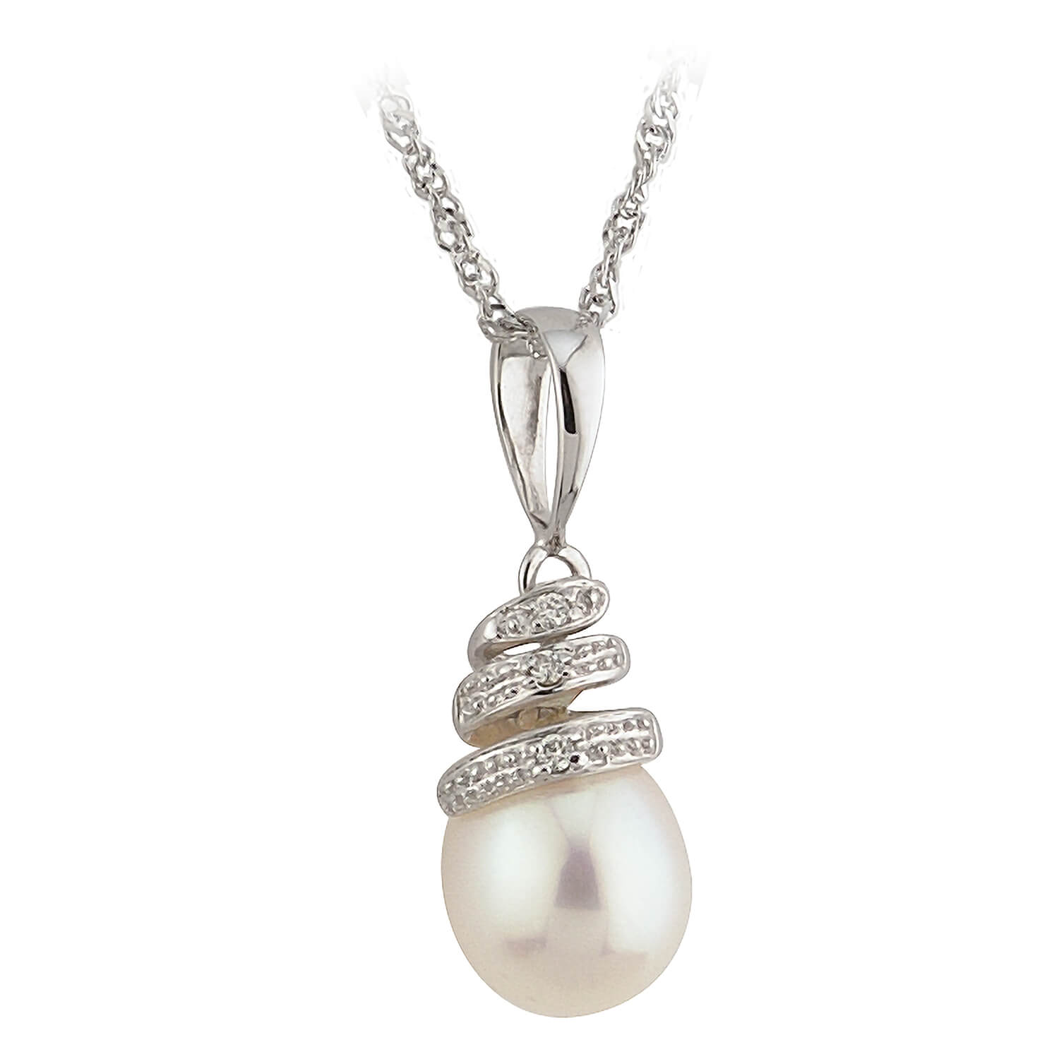 9ct White Gold Twist Diamond & Pearl Pendant