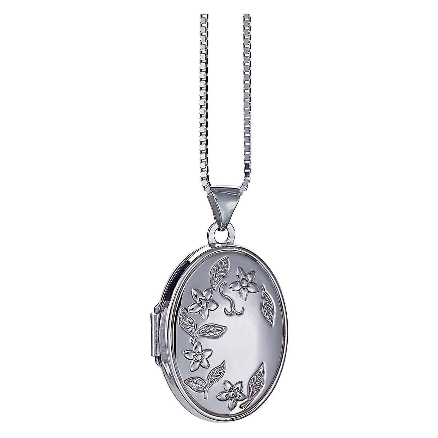 Silver engraved oval flower locket