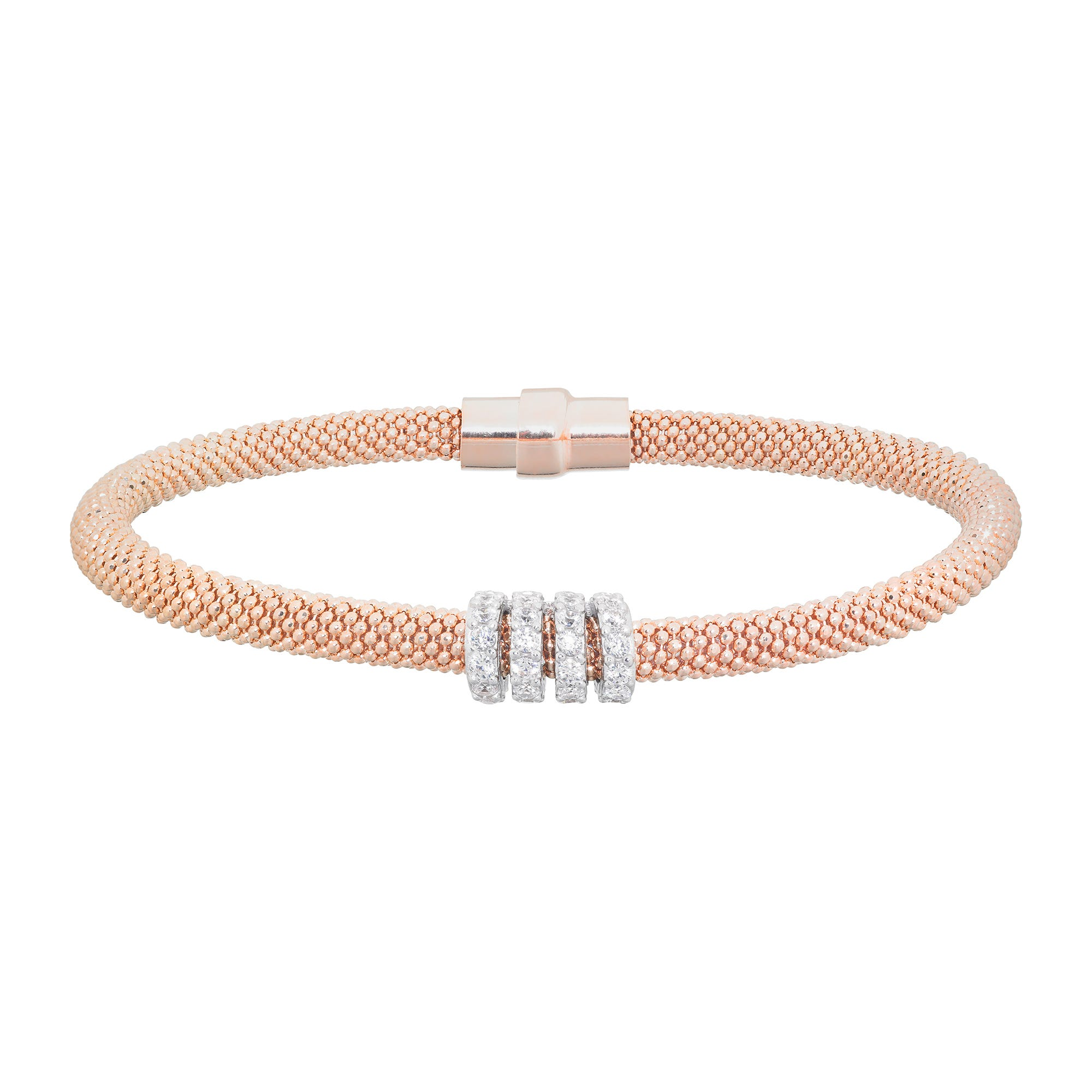 Rose gold-plated cubic zirconia beaded bangle