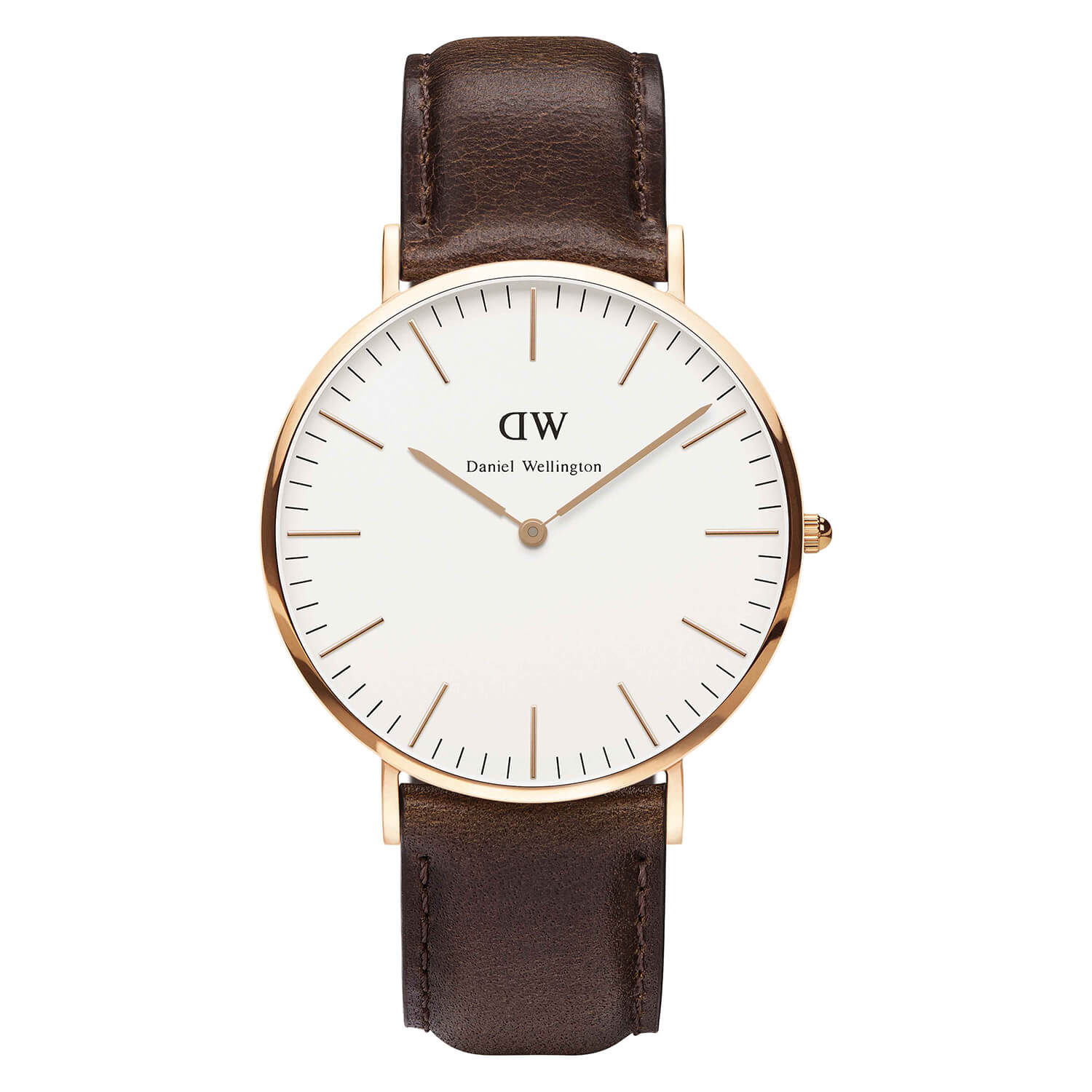 Daniel Wellington Classic Bristol men's rose gold-plated and brown leather strap watch