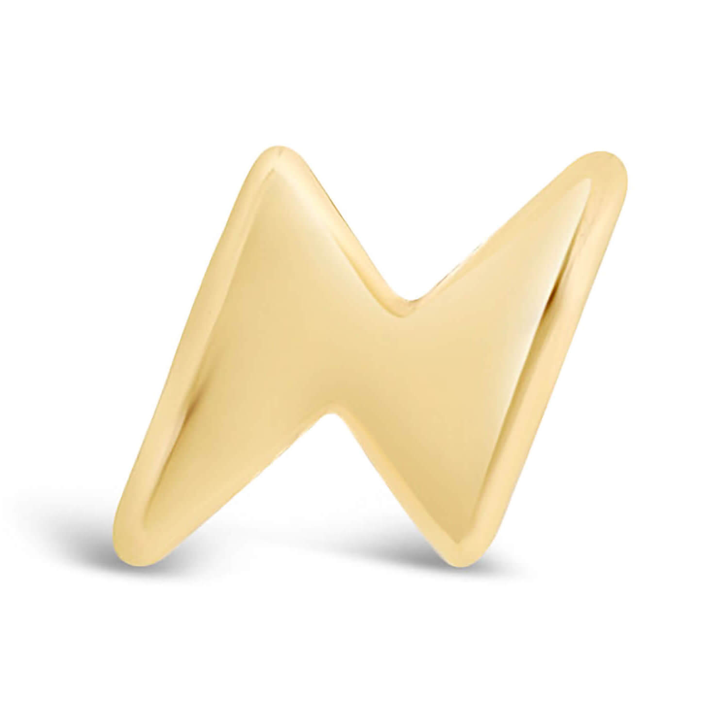 9ct Yellow Gold Lightening Bolt Single Stud Earring