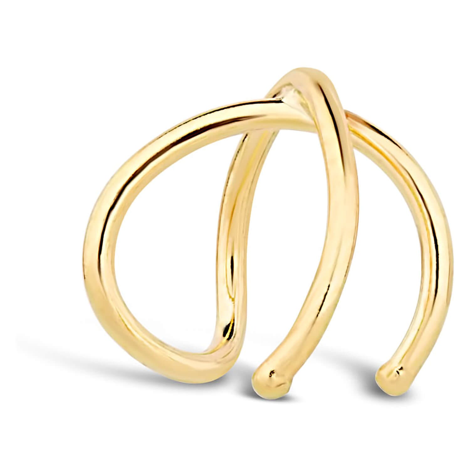 9ct Yellow Gold Crossover Open Single Ear Cuff