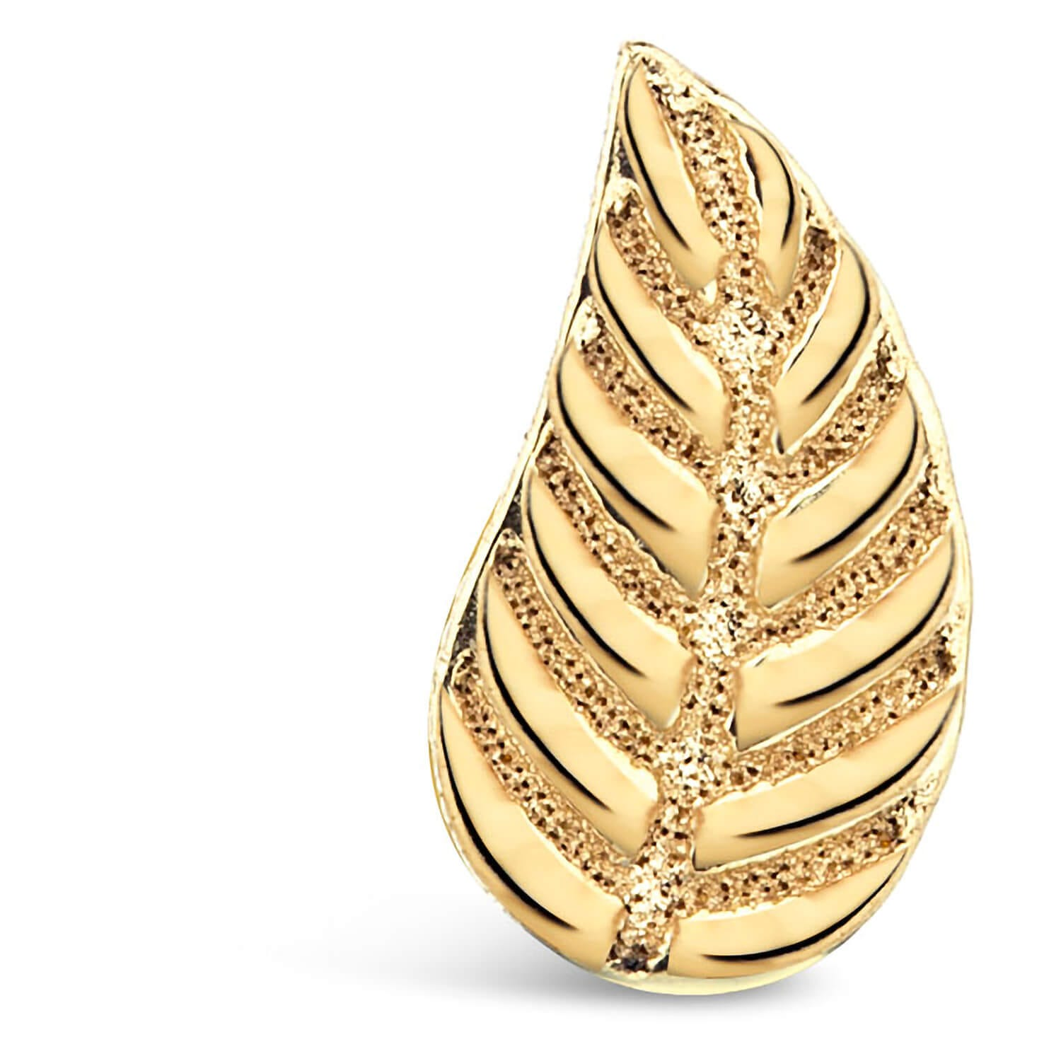 9ct Yellow Gold Leaf Single Stud Earring