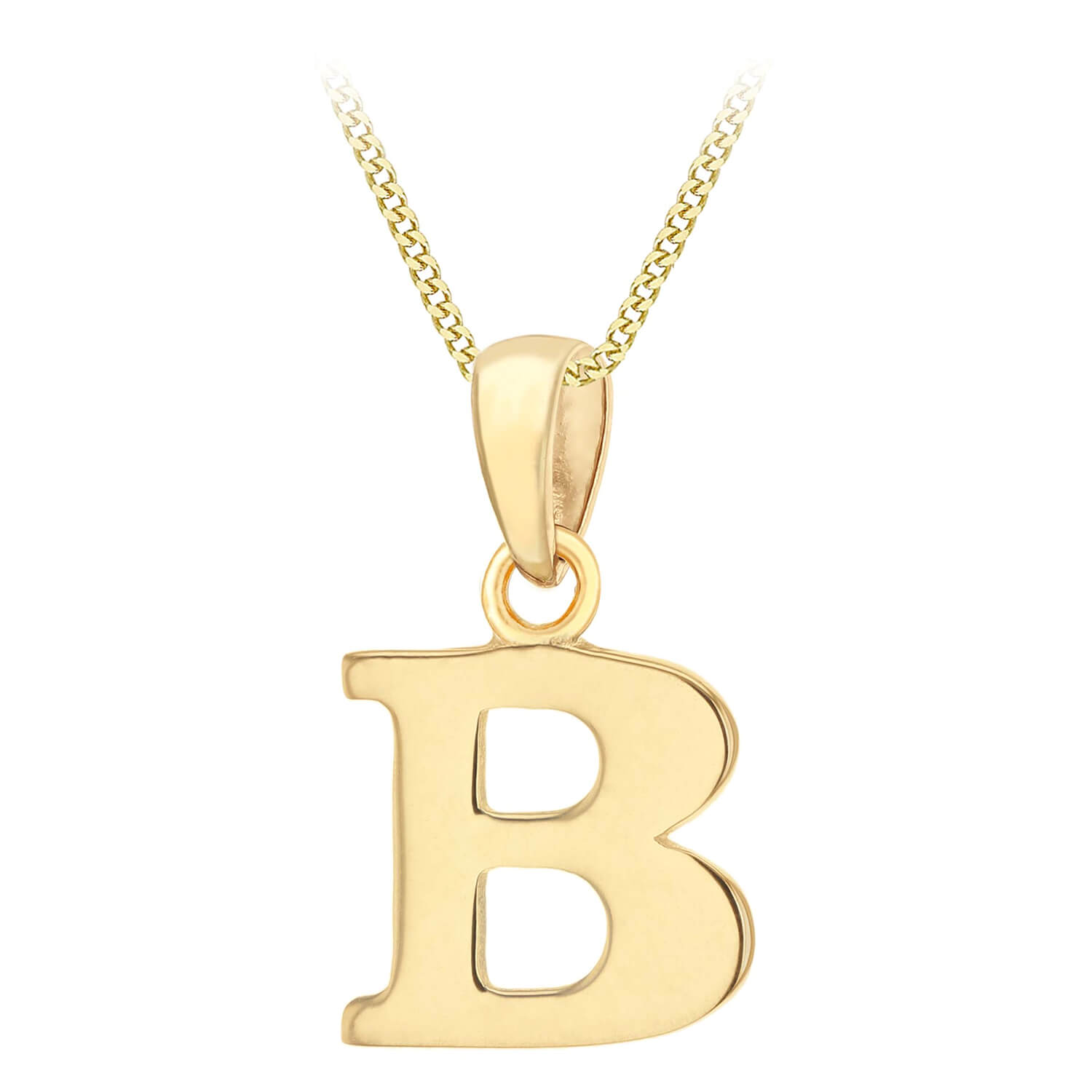 """9ct Yellow Gold Plain Initial B Pendant With 16-18"""" Chain (Special Order)"""