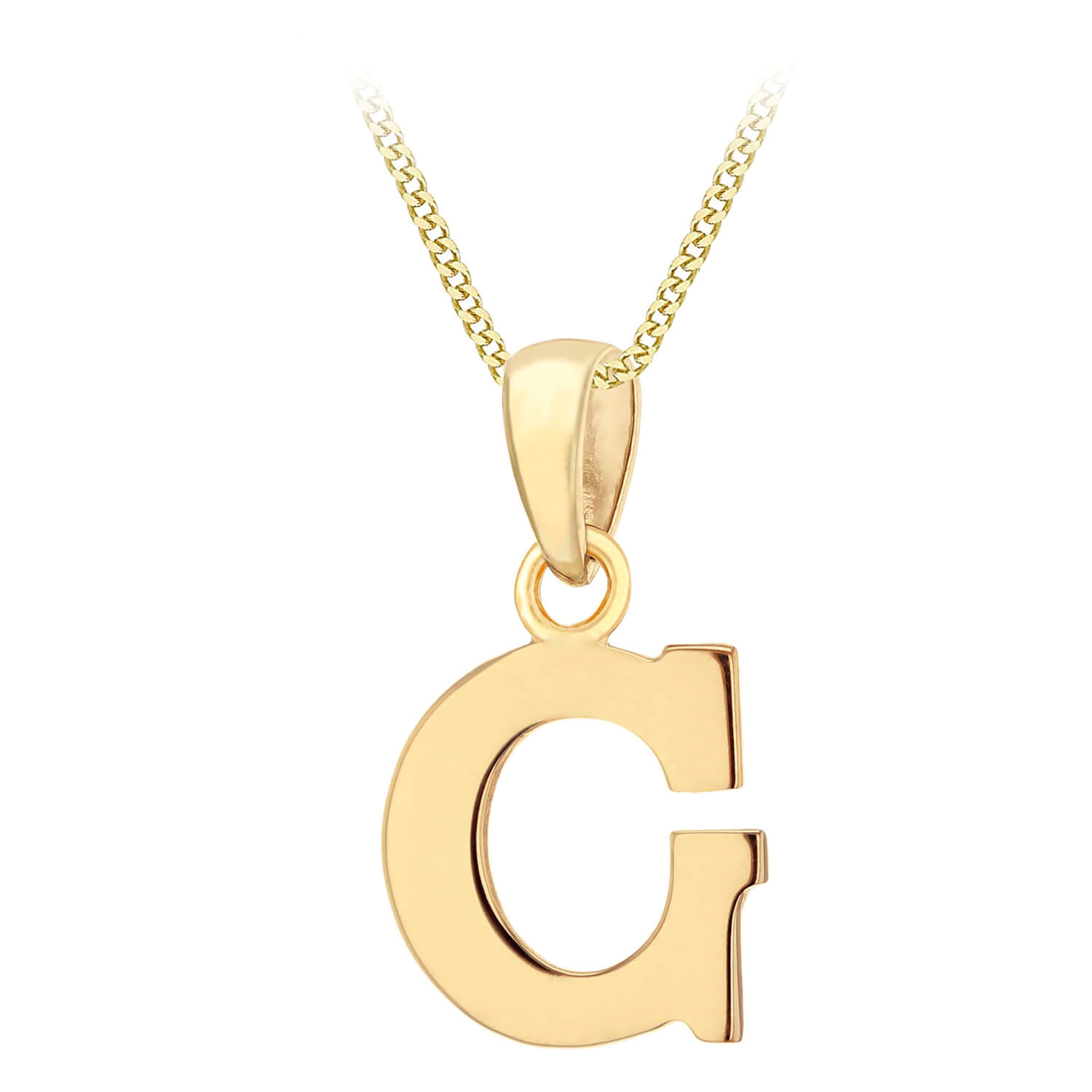 """9ct Yellow Gold Plain Initial G Pendant With 16-18"""" Chain (Special Order)"""