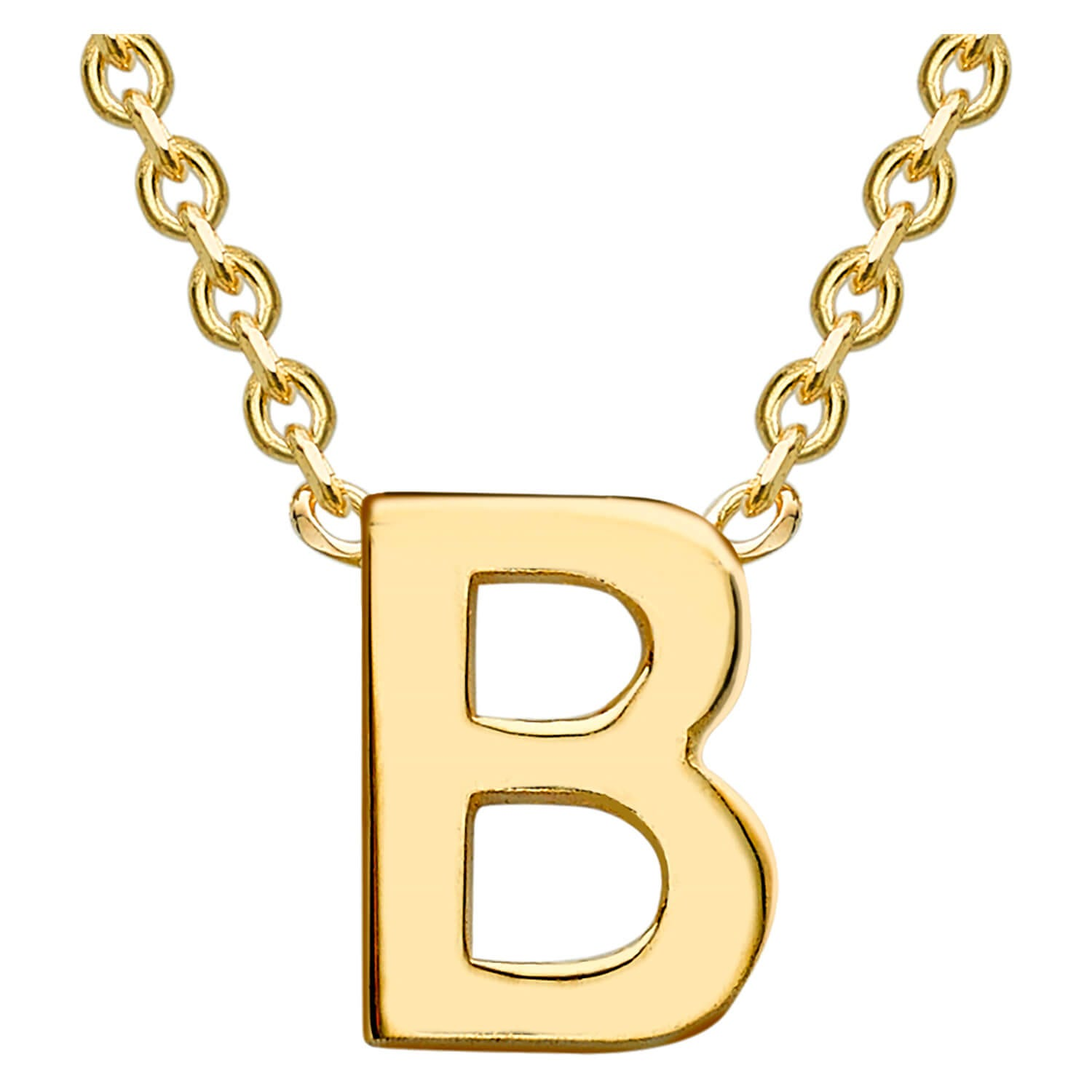 9 Carat Yellow Gold Petite Initial B Necklet (Special Order)