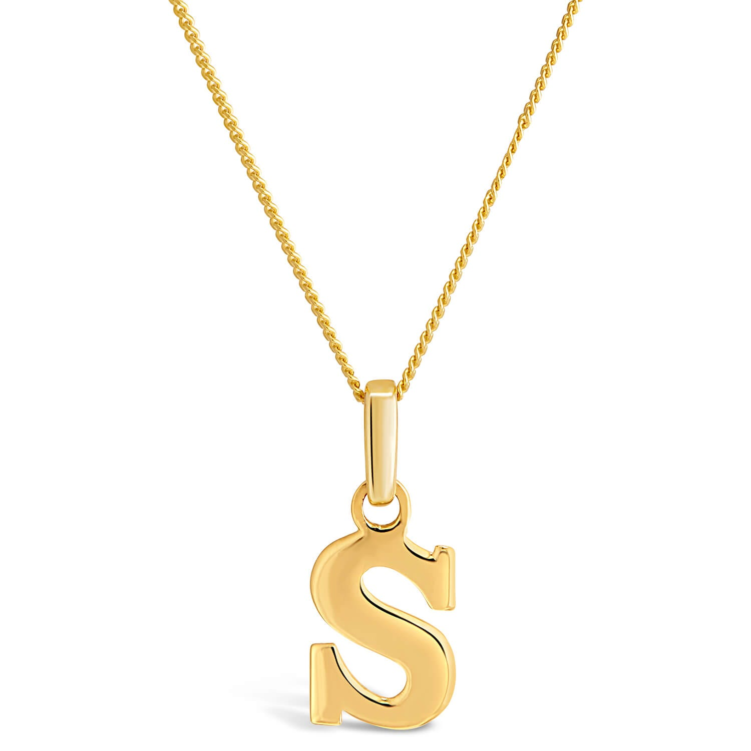 "9ct Yellow Gold Plain Initial S Pendant With 16-18"" Chain (Special Order)"