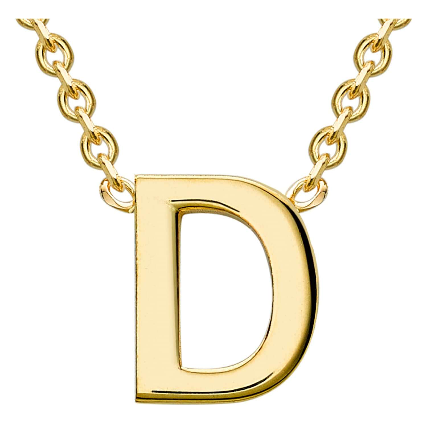 9 Carat Yellow Gold Petite Initial D Necklet (Special Order)