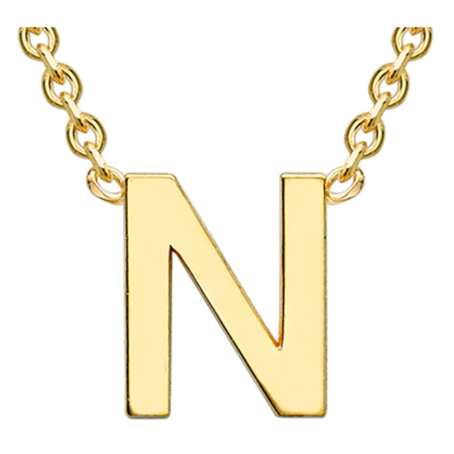 9 Carat Yellow Gold Petite Initial N Necklet (Special Order)