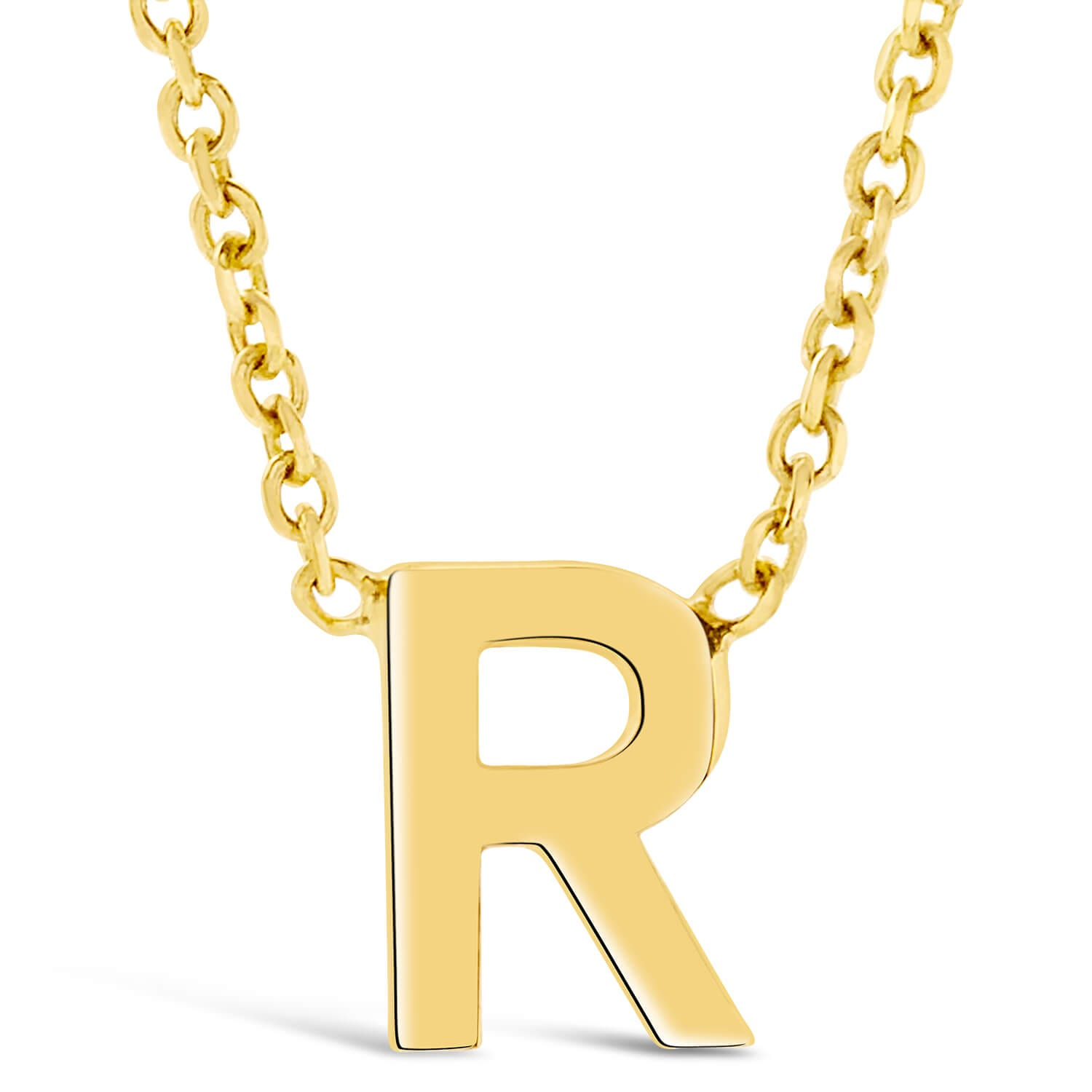 9 Carat Yellow Gold Petite Initial R Necklet (Special Order)