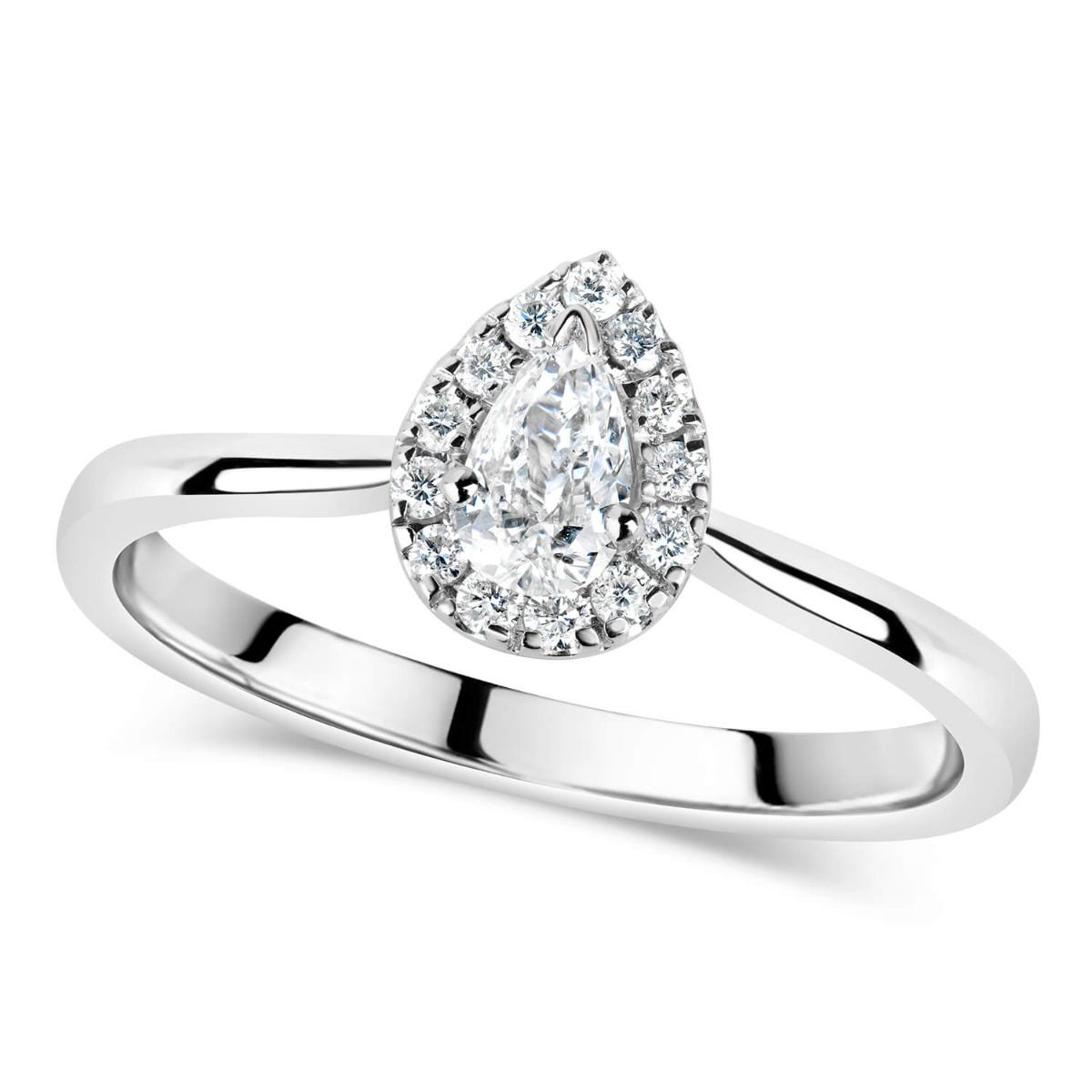 9ct White Gold 0.25ct Diamond Pear Cut Halo Ring