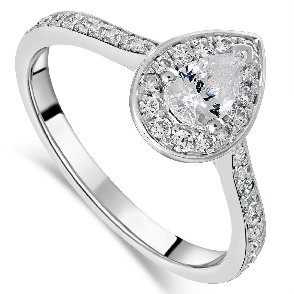 18ct White Gold Pear 0.60ct Diamond Halo and Shoulders Ring