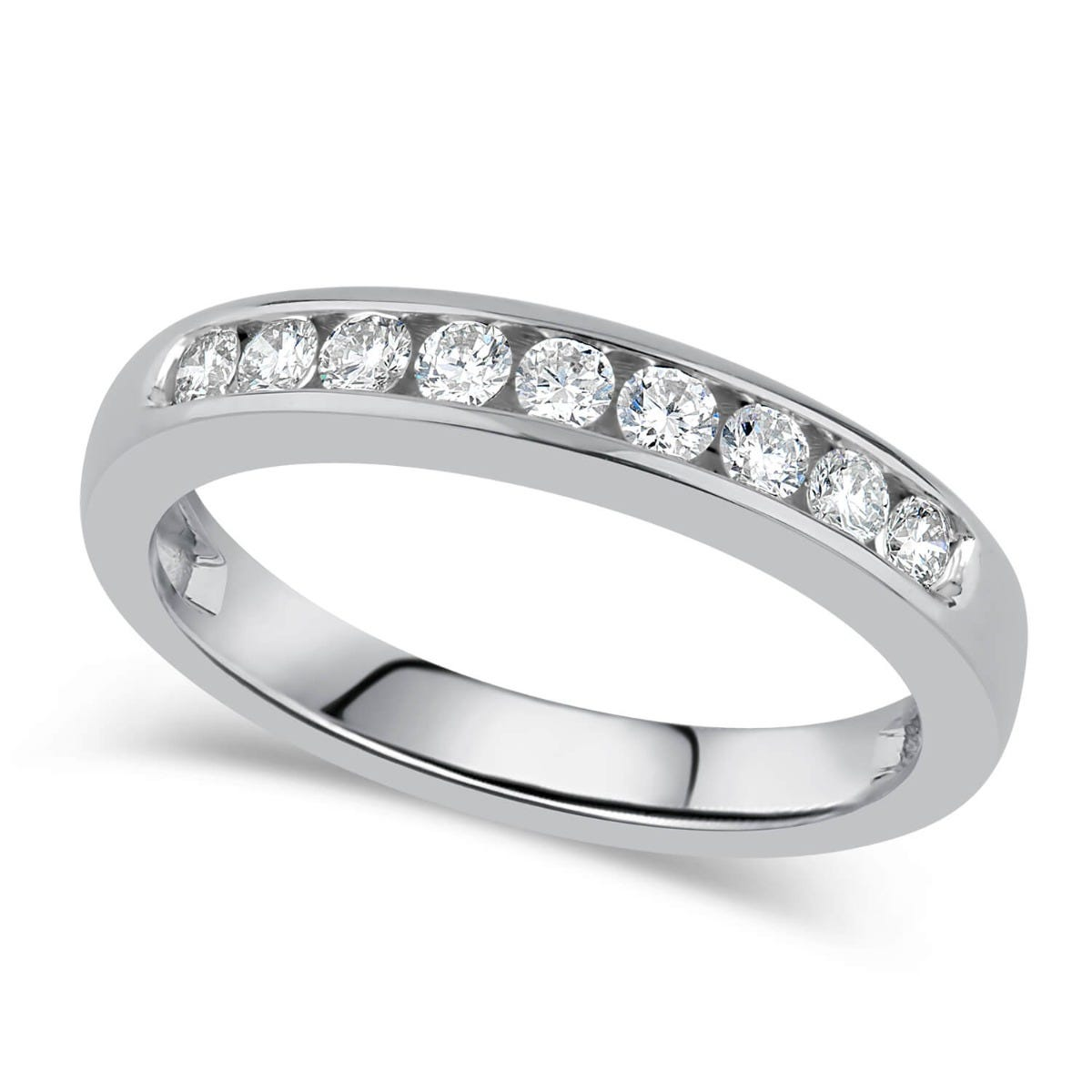 9ct White Gold 0.25ct Diamond Nine Stone Channel Ring