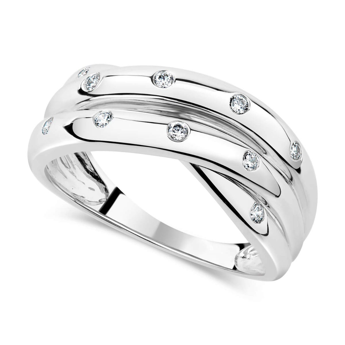 9ct White Gold 0.13ct Diamond Crossover Ladies Ring