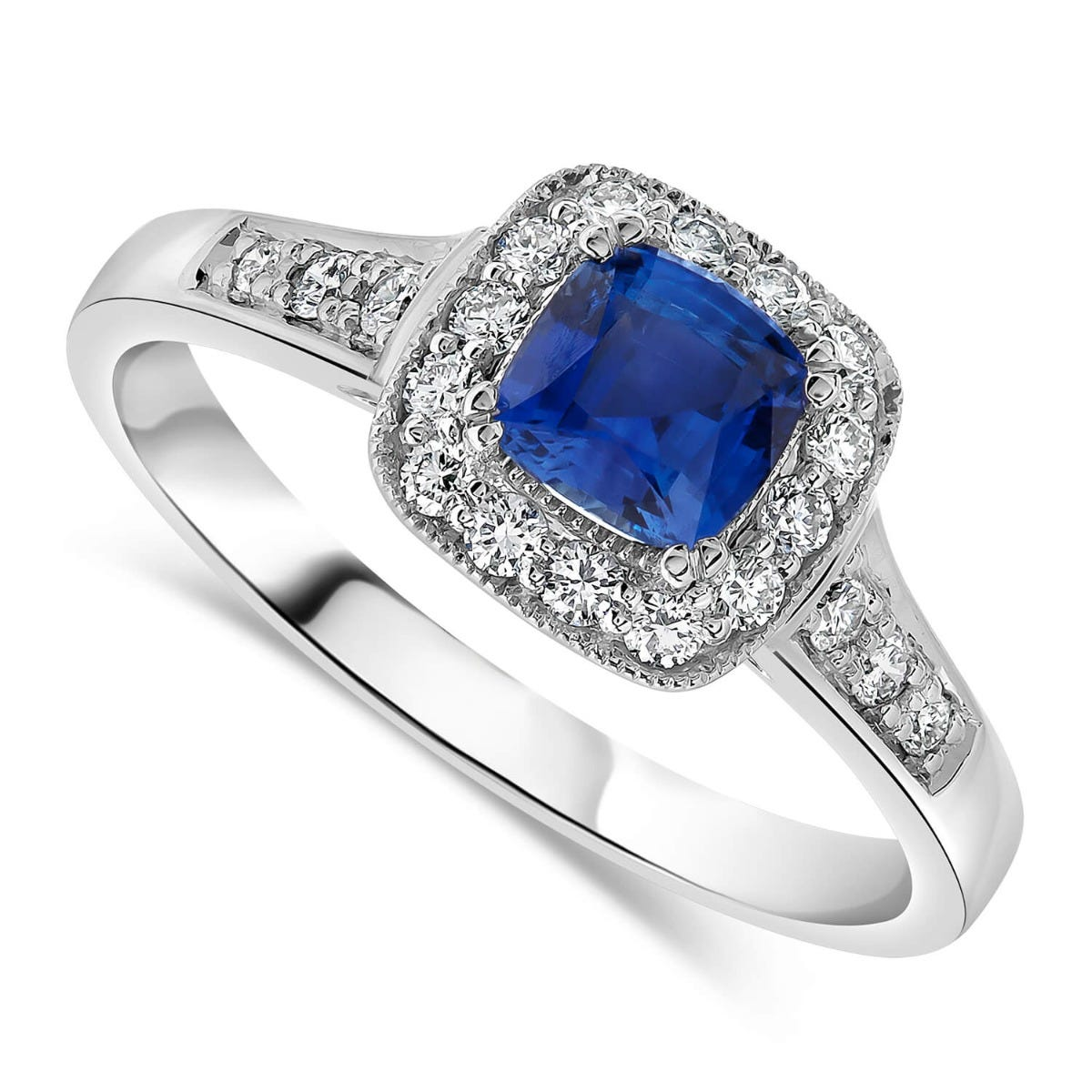 18ct white gold sapphire and 0.25 carat diamond ring