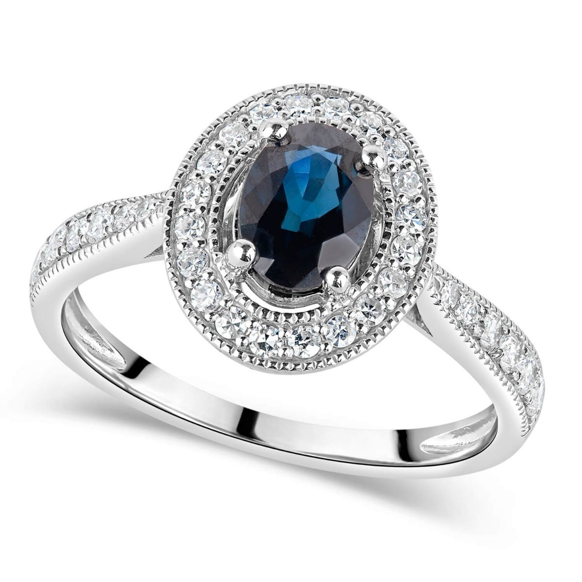 9ct White Gold Diamond Halo and Oval Sapphire Ring