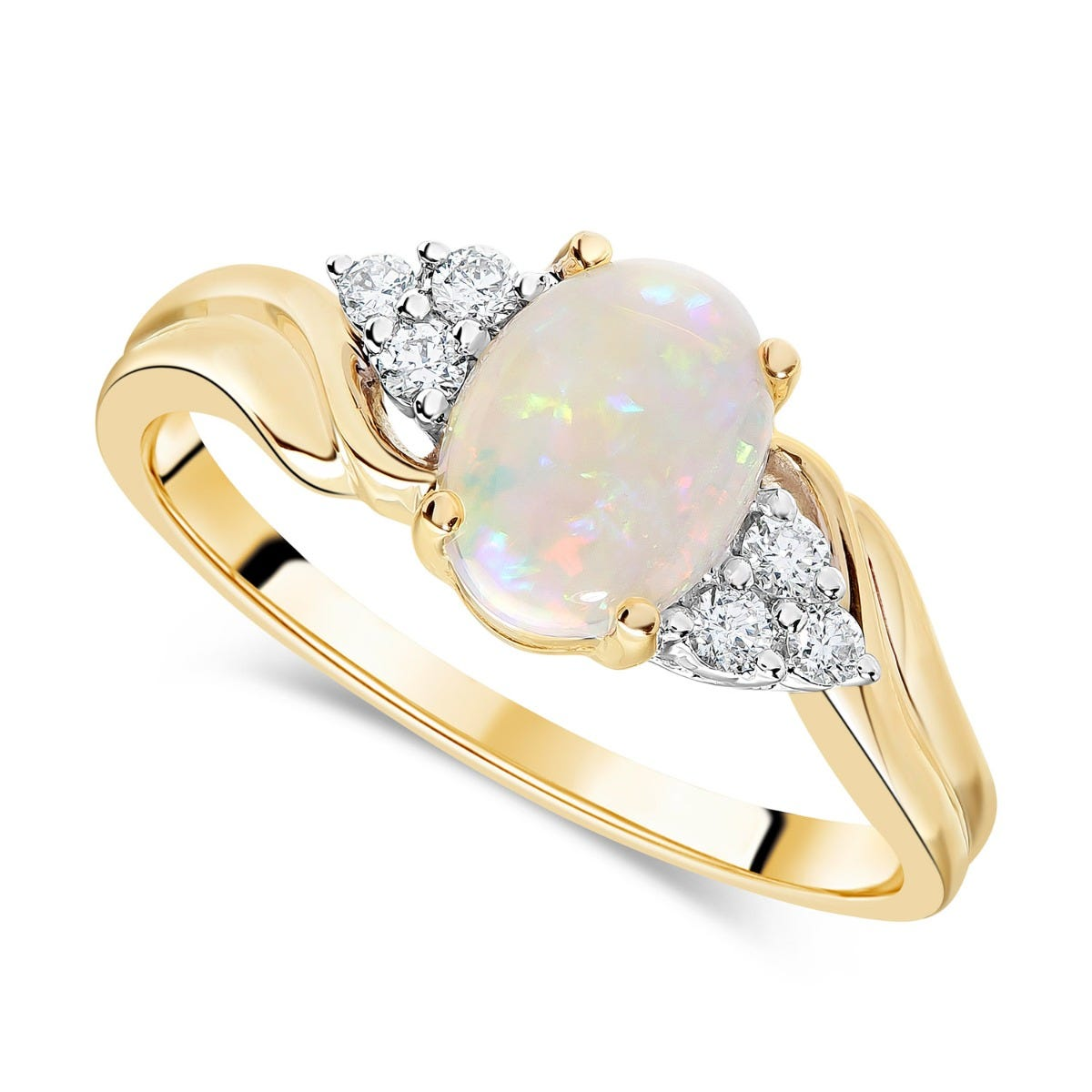 9ct Yellow Gold 0.10ct Diamond & Opal Ring