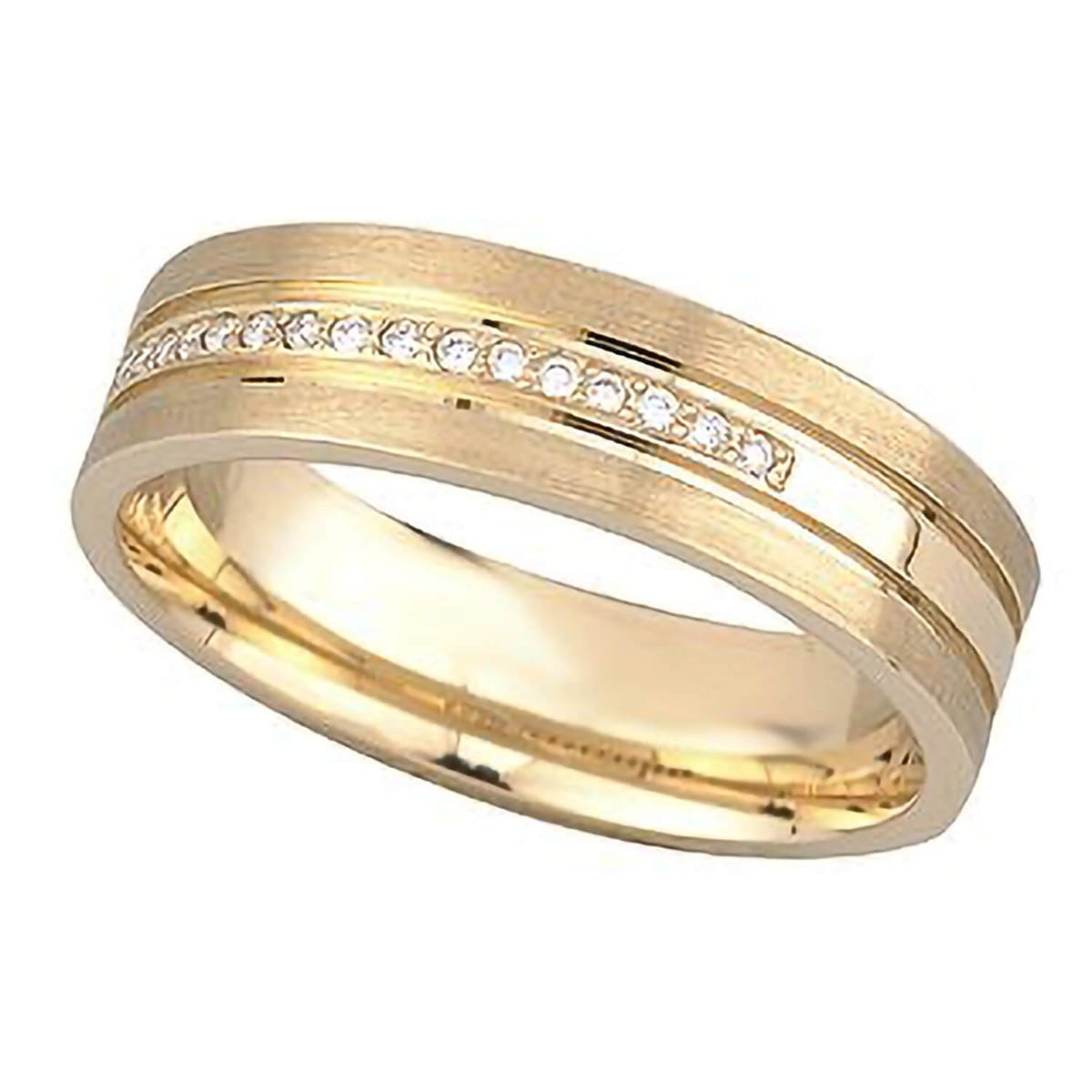 Men's 9ct gold diamond-set wedding ring