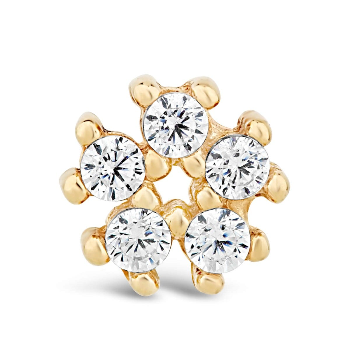 9ct Yellow Gold Cubic Zirconia Flower Single Stud Earring