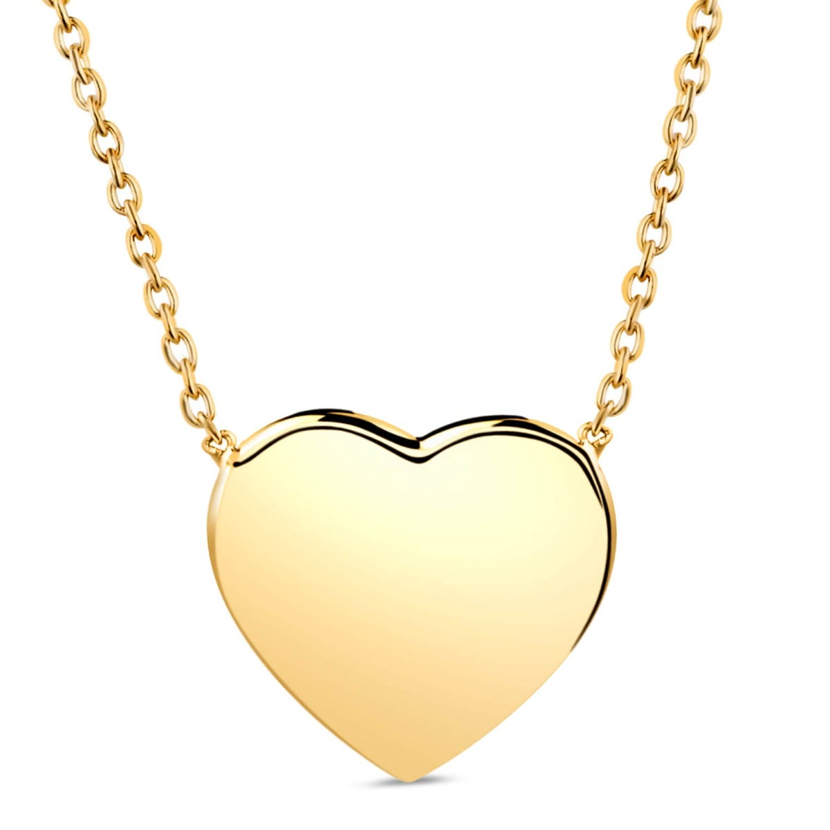 9ct Yellow Gold Plain Polished Heart Necklet