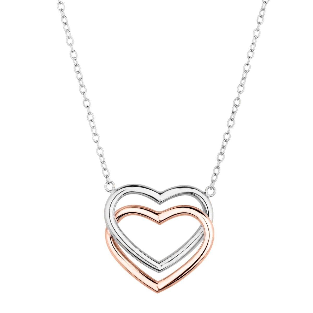 9ct Two-Tone Gold Double Heart Necklet