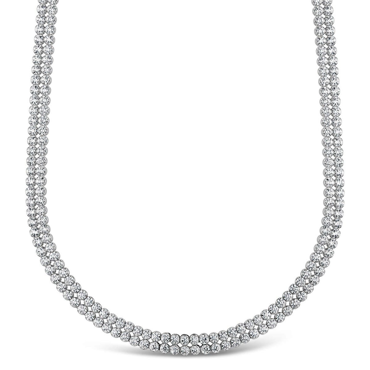 Sterling silver crystal double row crystal necklace