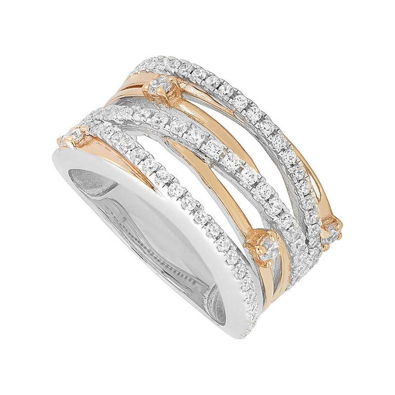 Ladies Sterling Silver and Rose Plated Strand Dress Ring