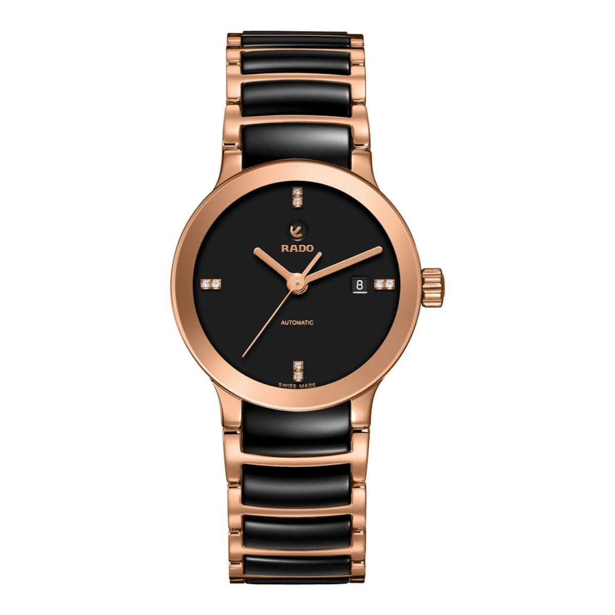Rado Centrix ladies' automatic diamond-set rose gold-plated and ceramic bracelet watch