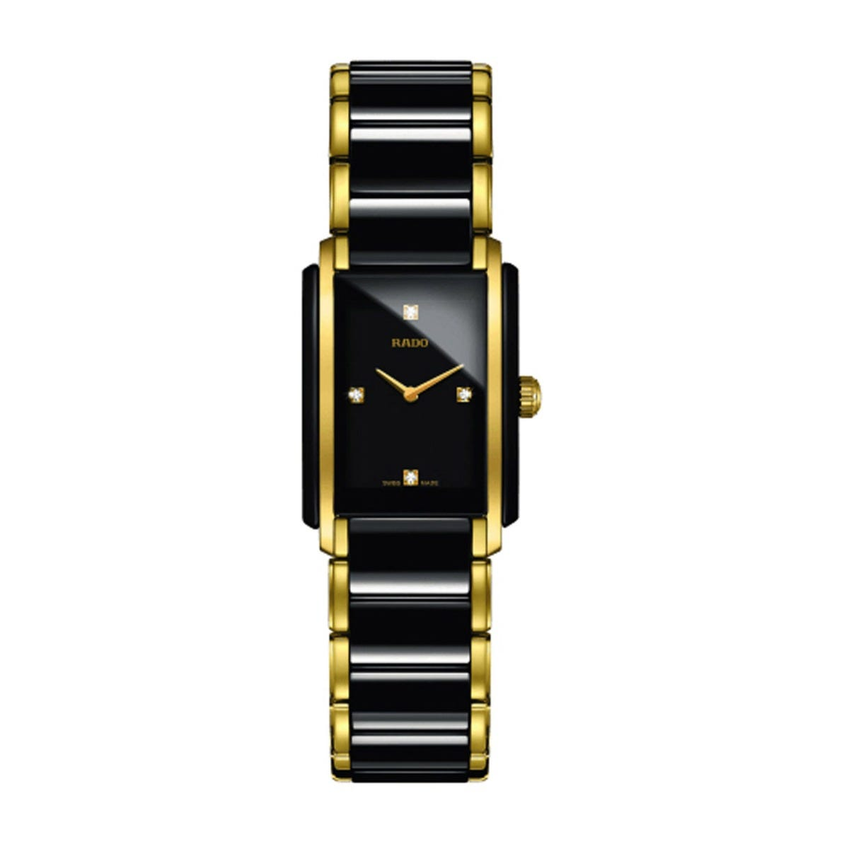 Rado Integral Rectangle Diamond Dot Black & Yellow Gold Bracelet Watch