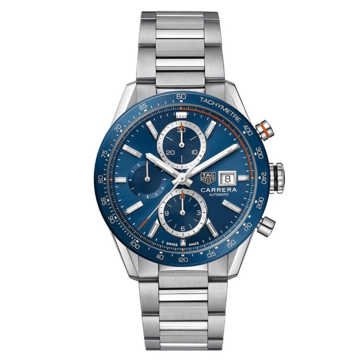 TAG Carrera Blue Chronograph Stainless Steel 41mm Mens Watch