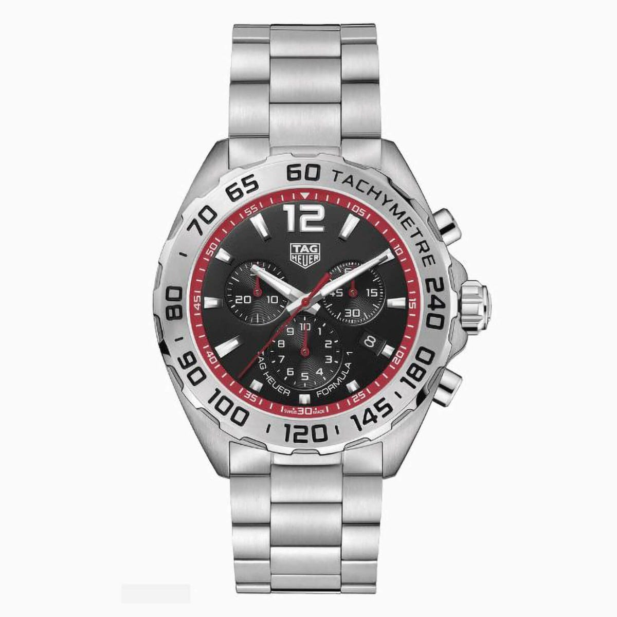 Tag F1 Black Red Chronograph Stainless Steel 43mm Mens Watch