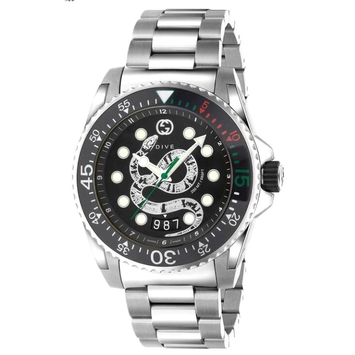 Gucci Dive Black dial 45mm Mens Watch