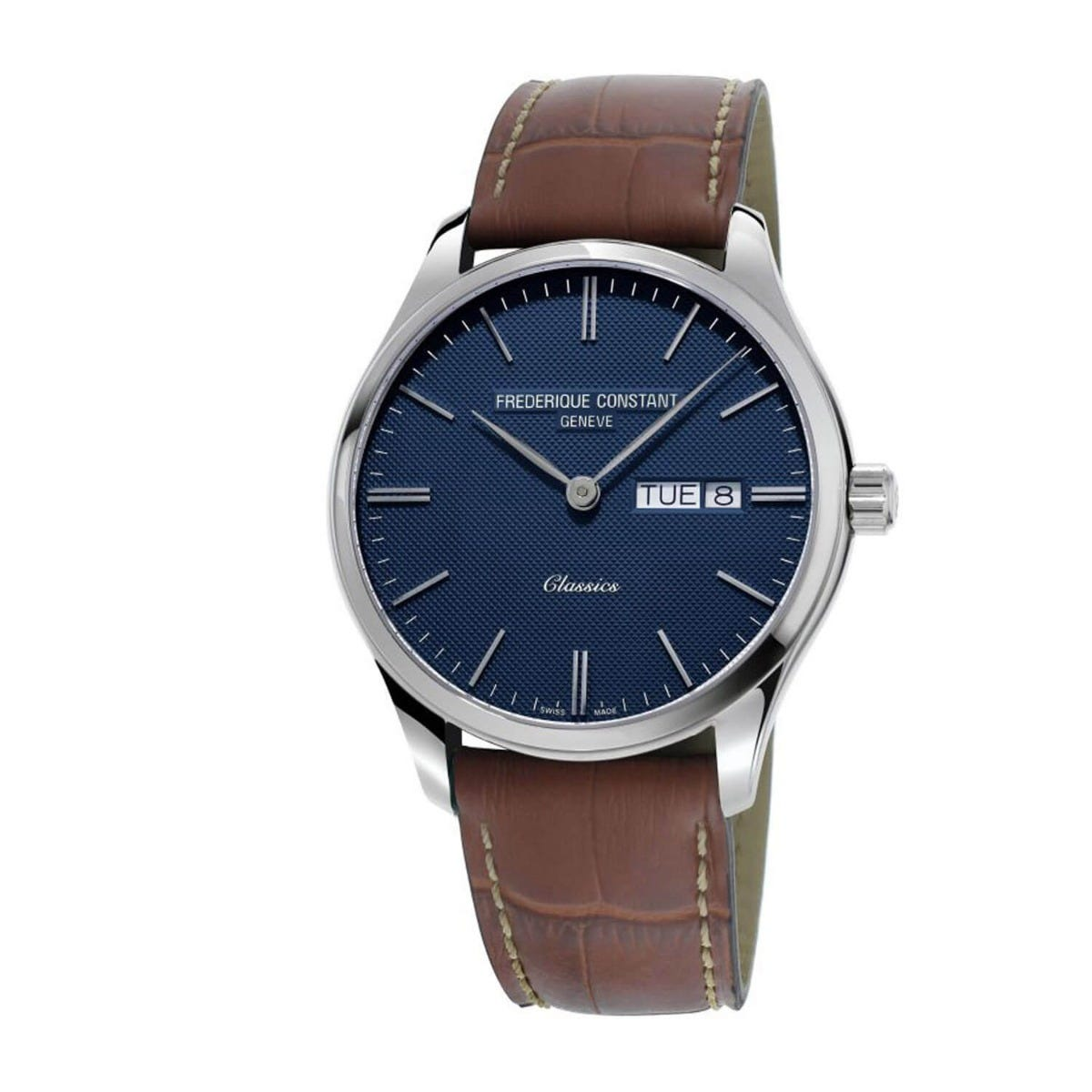 Frederique Constant Classic Blue Dial and Brown Leather Strap 40mm Mens Watch