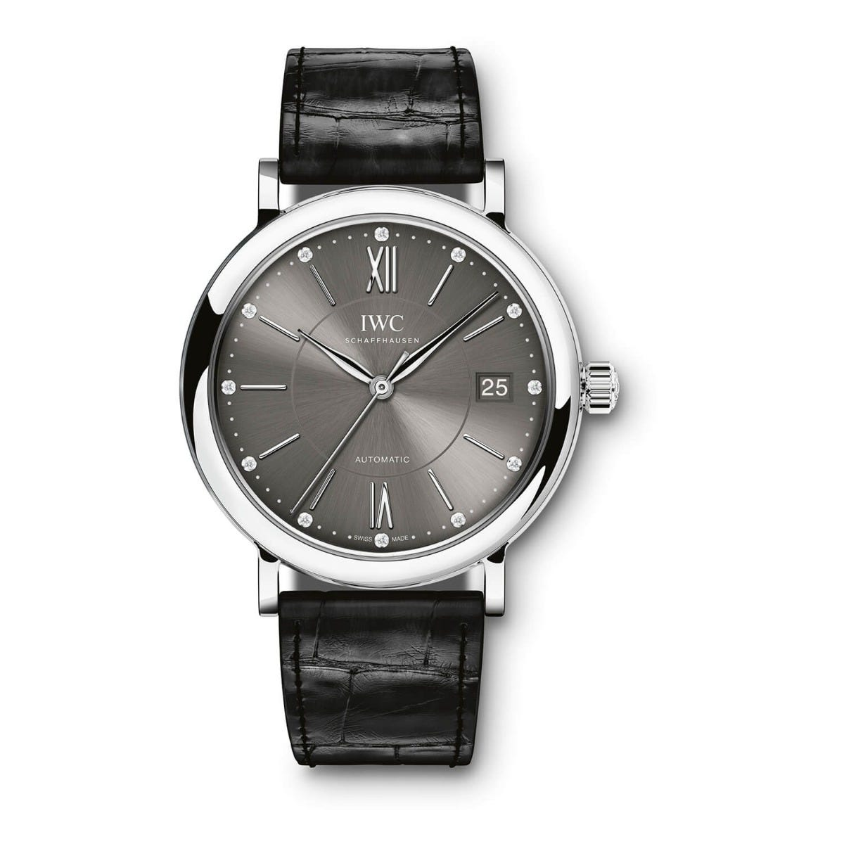 IWC Portofino Collection Ladies Black Strap Grey Dial Watch