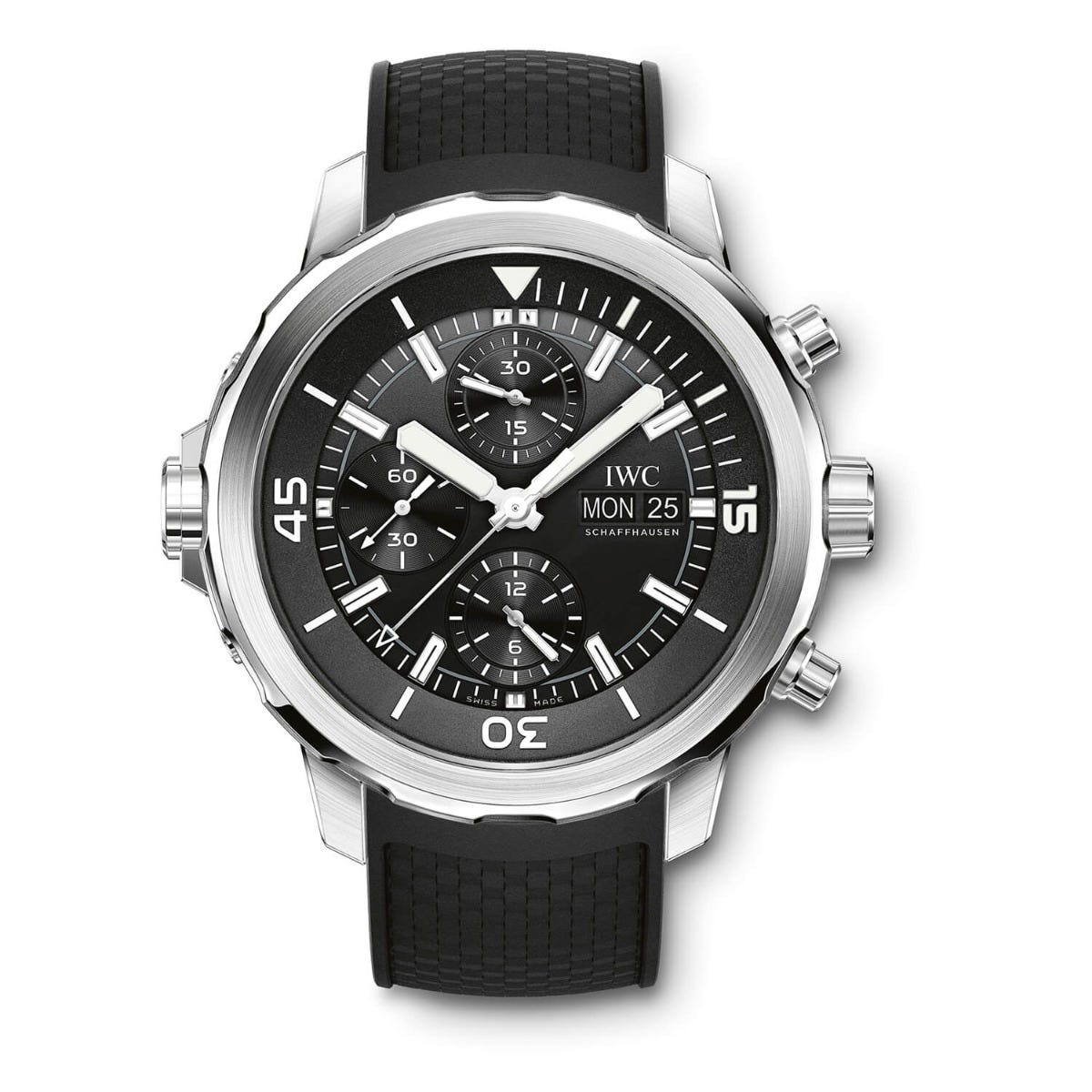 IWC Aquatimer Collection Mens Black Strap Black Dial Watch