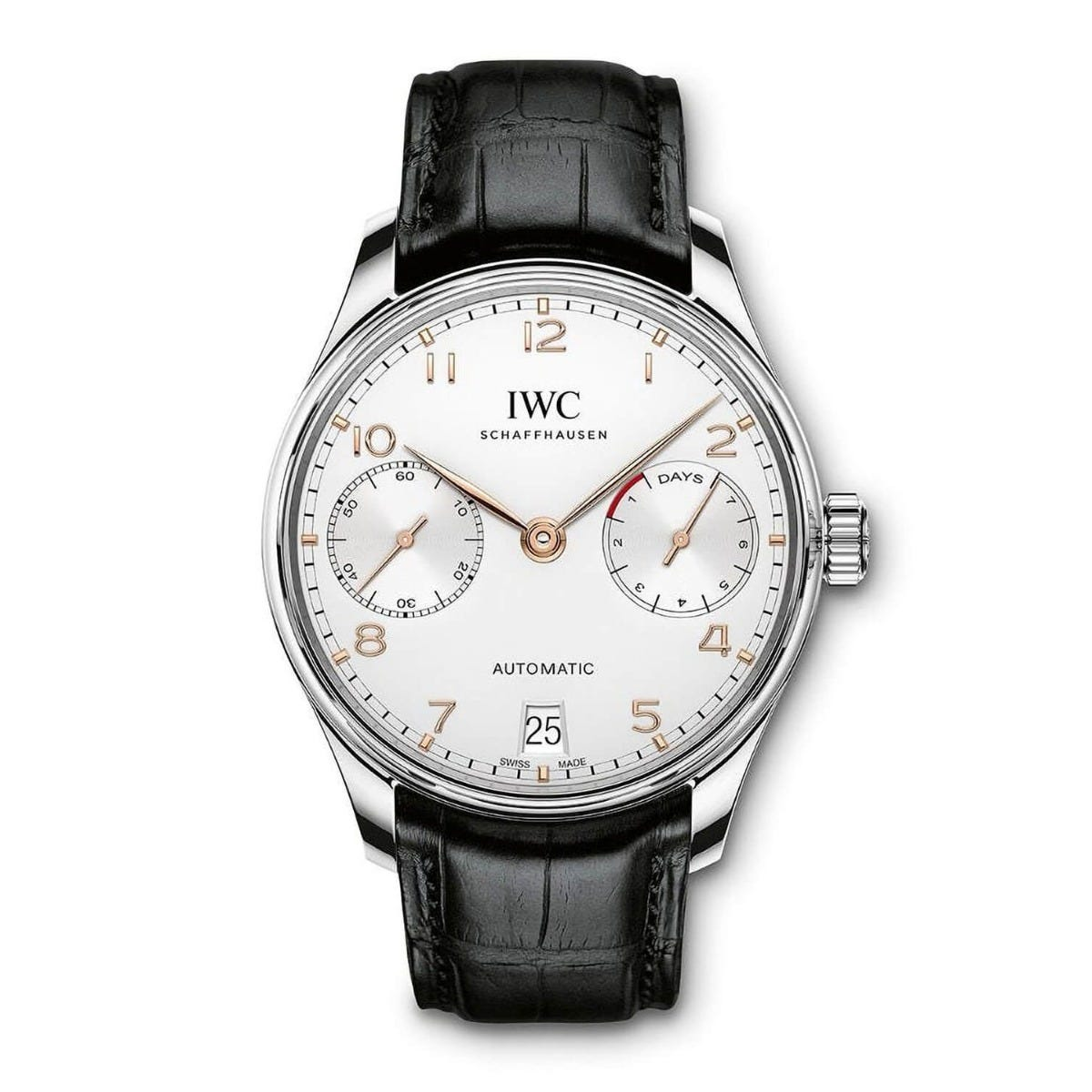 IWC Portugieser Automatic 7 Days' Power Reserve men's white dial black leather strap watch