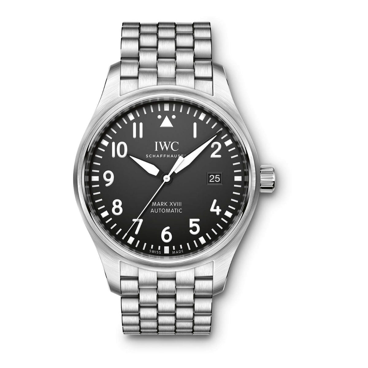 IWC Pilot Collection Mens Silver Strap Black Dial Watch