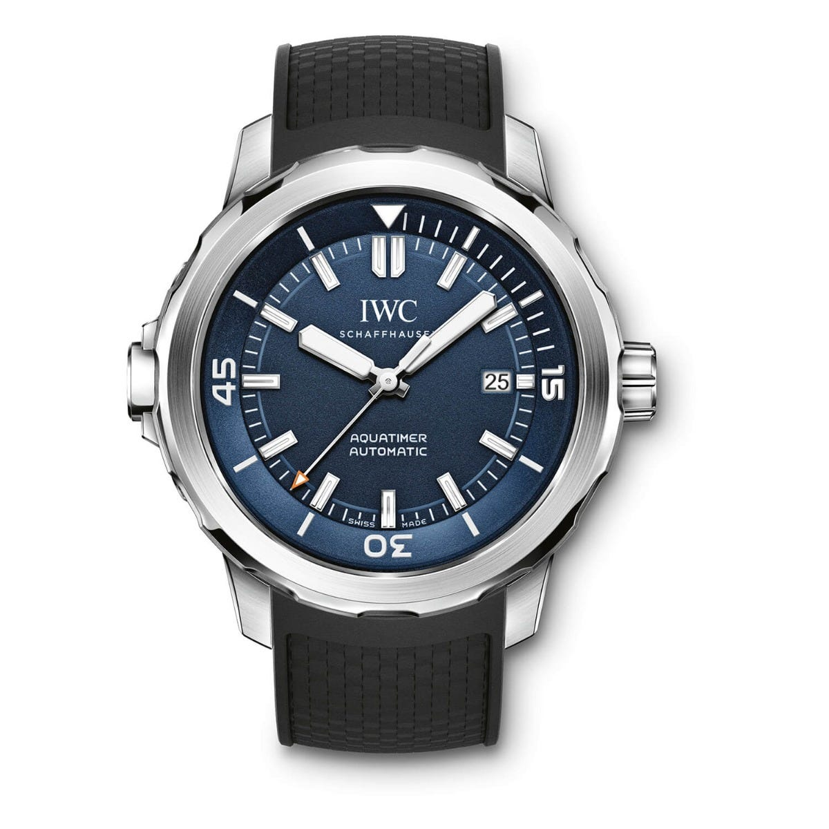 IWC Aquatimer Collection Mens Black Strap Blue Dial Watch