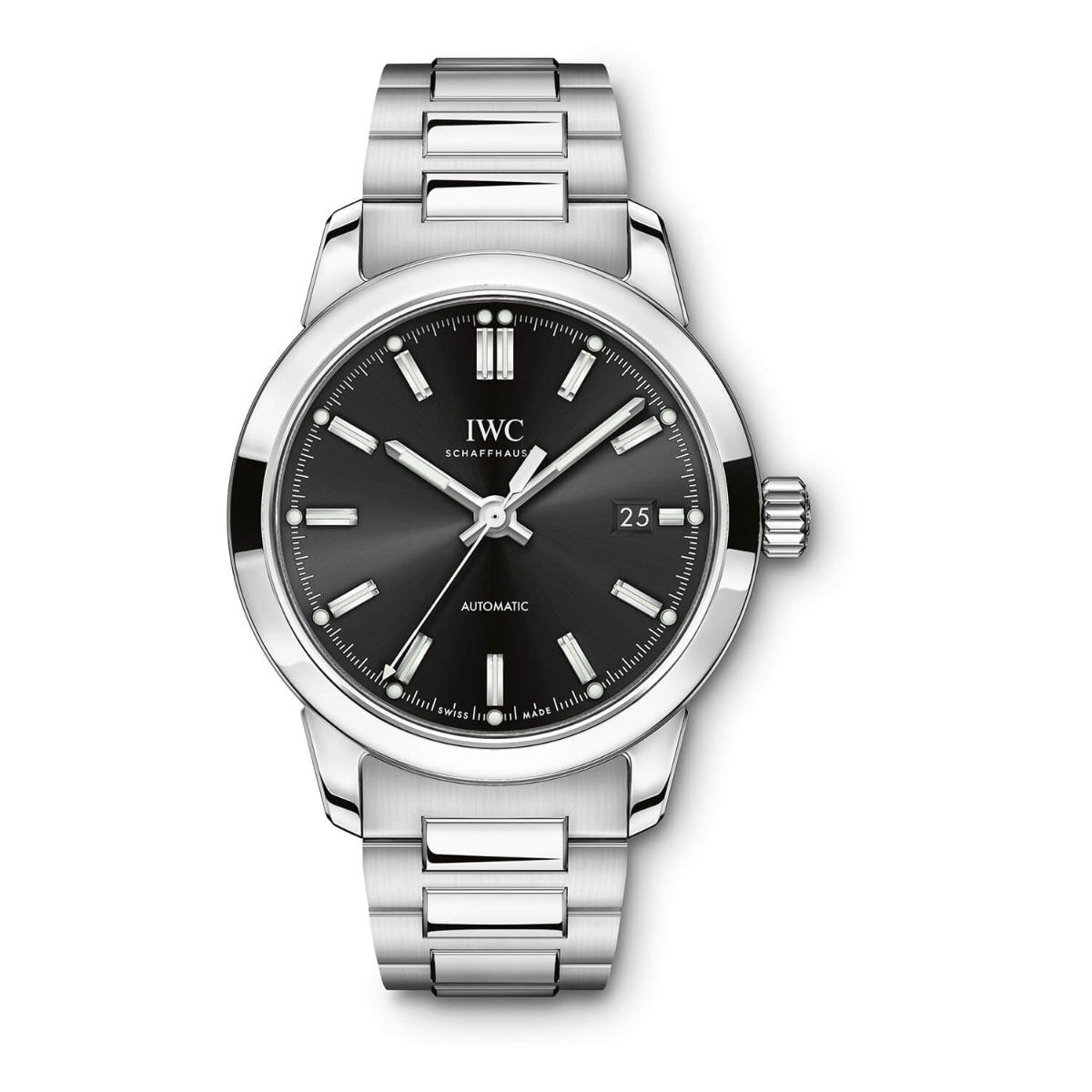 IWC Ingenieur Collection Mens Silver Strap Black Dial Watch