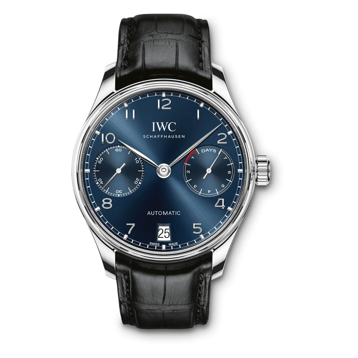 IWC Portugieser Collection Mens Black Strap Blue Dial Watch