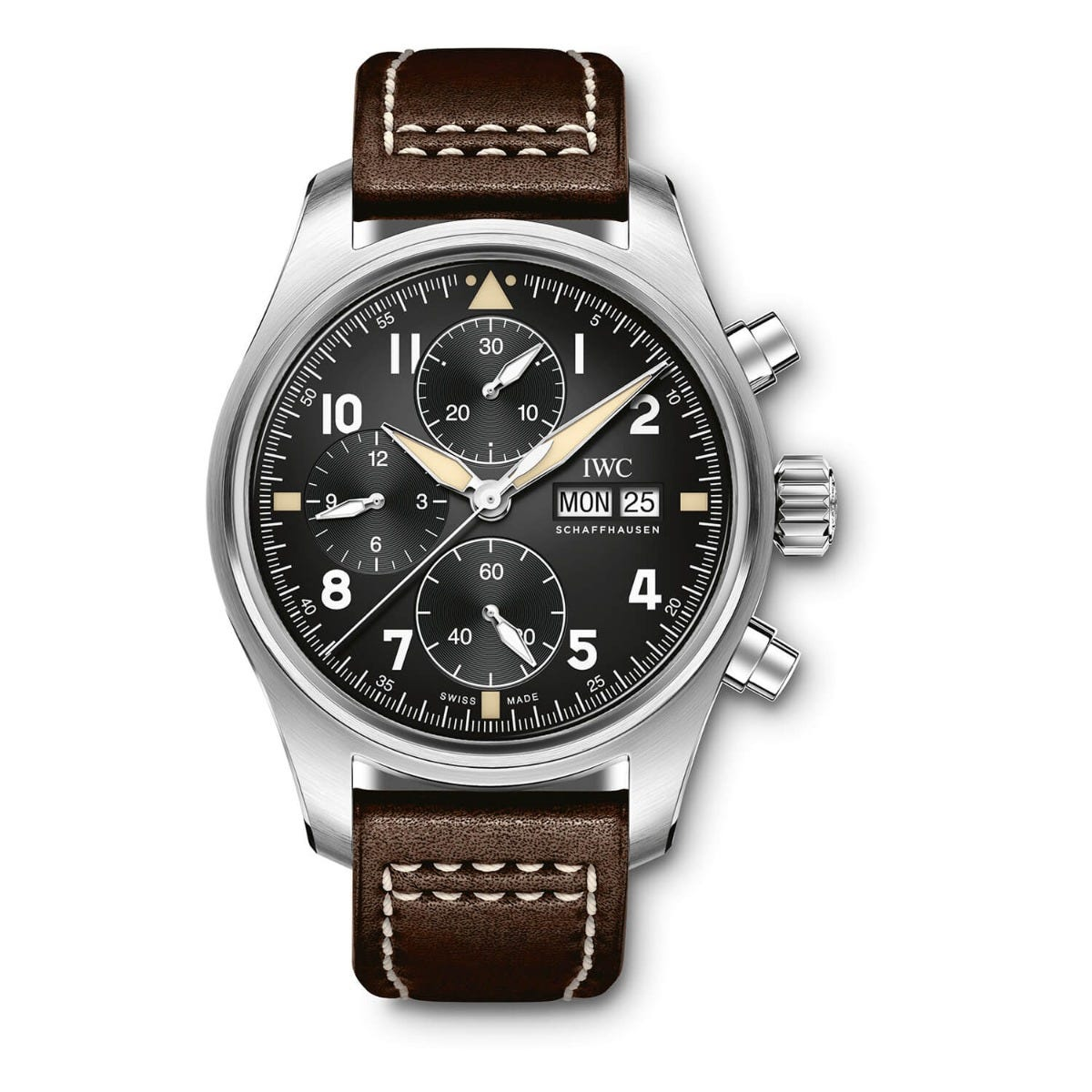 IWC Pilot Collection Mens Brown Strap Black Dial Watch