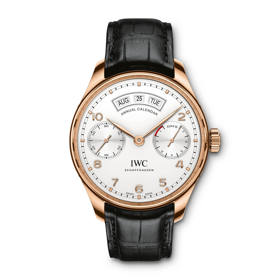 IWC Portugieser Collection Mens Black Strap White Dial Watch