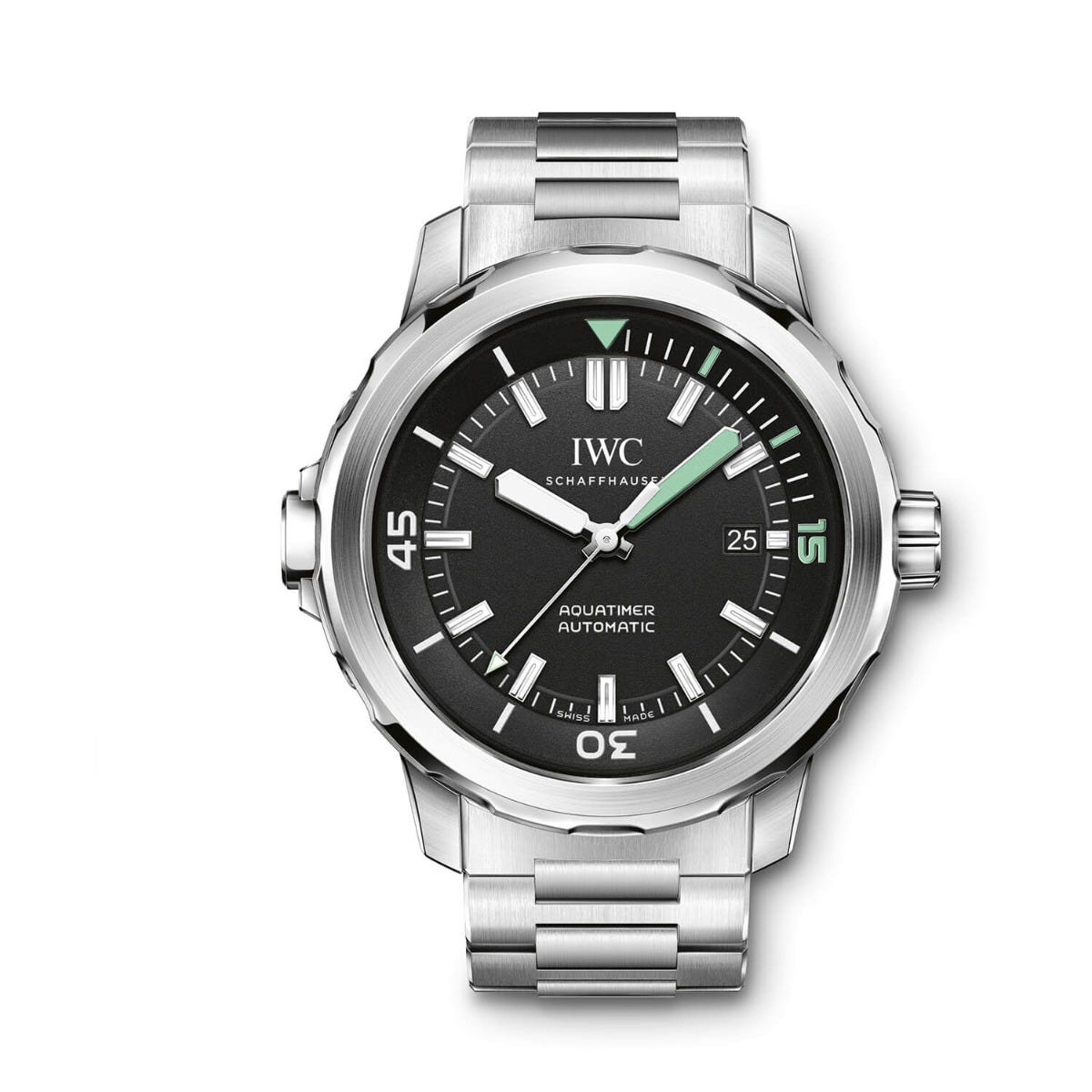 IWC Aquatimer Collection Mens Silver Strap Black Dial Watch